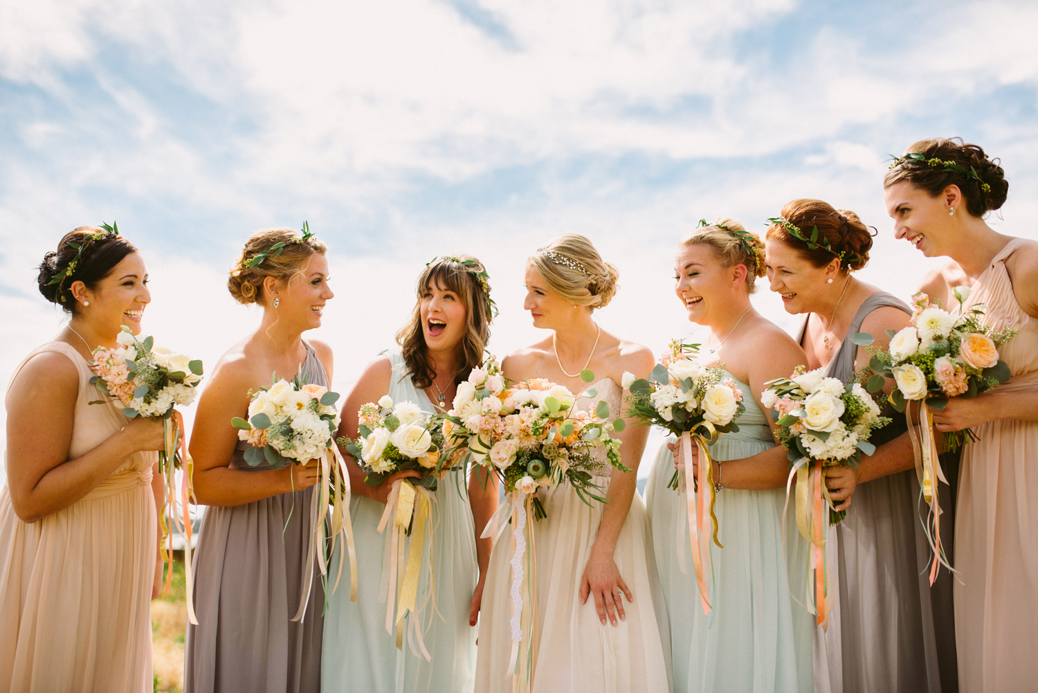 Flowers by Lace and Lilies / Colorado wedding florist - peach, sage, green, white, ivory, blush - natural, organic, romantic, whimsical - Fort Collins, Grand Lake, Destination, Travel - mountain wedding, hanging ribbon, bridesmaid, maid of honor, bridal bouquet, hair flowers, floral crown, flower halo