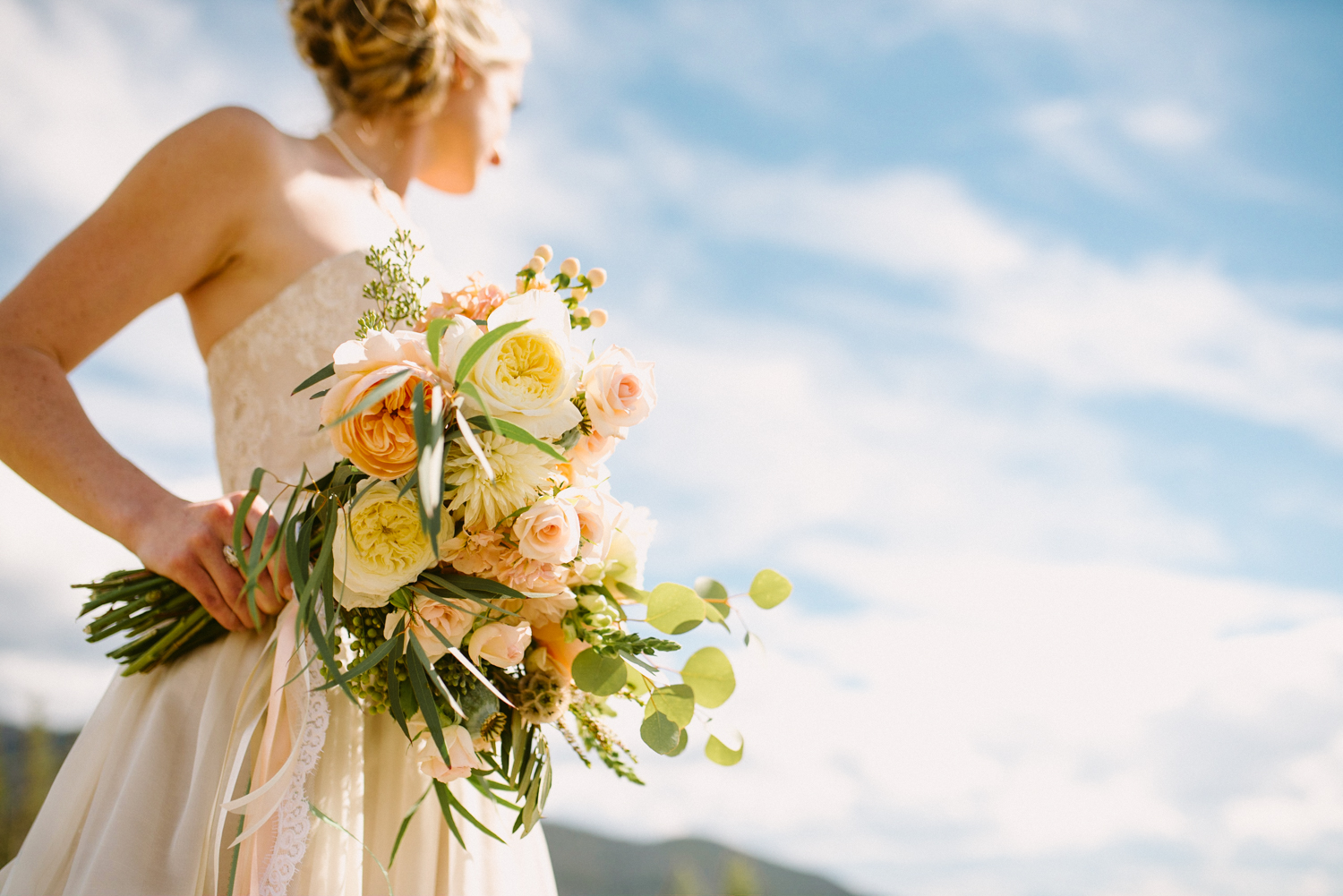 Flowers by Lace and Lilies / Colorado wedding florist - peach, sage, green, white, ivory, blush - natural, organic, romantic, whimsical - Fort Collins, Grand Lake, Destination, Travel - bride, bridal bouquet, eucalytpus, scabiosa pod, garden rose, dahlia, berries, olive