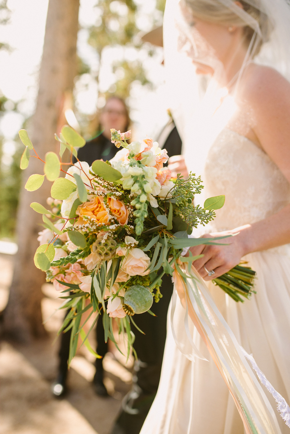 Flowers by Lace and Lilies / Colorado wedding florist - peach, sage, green, white, ivory, blush - natural, organic, romantic, whimsical - Fort Collins, Grand Lake, Destination, Travel - mountain wedding, scabiosa pod, ranunculus, eucalyptus, garden rose