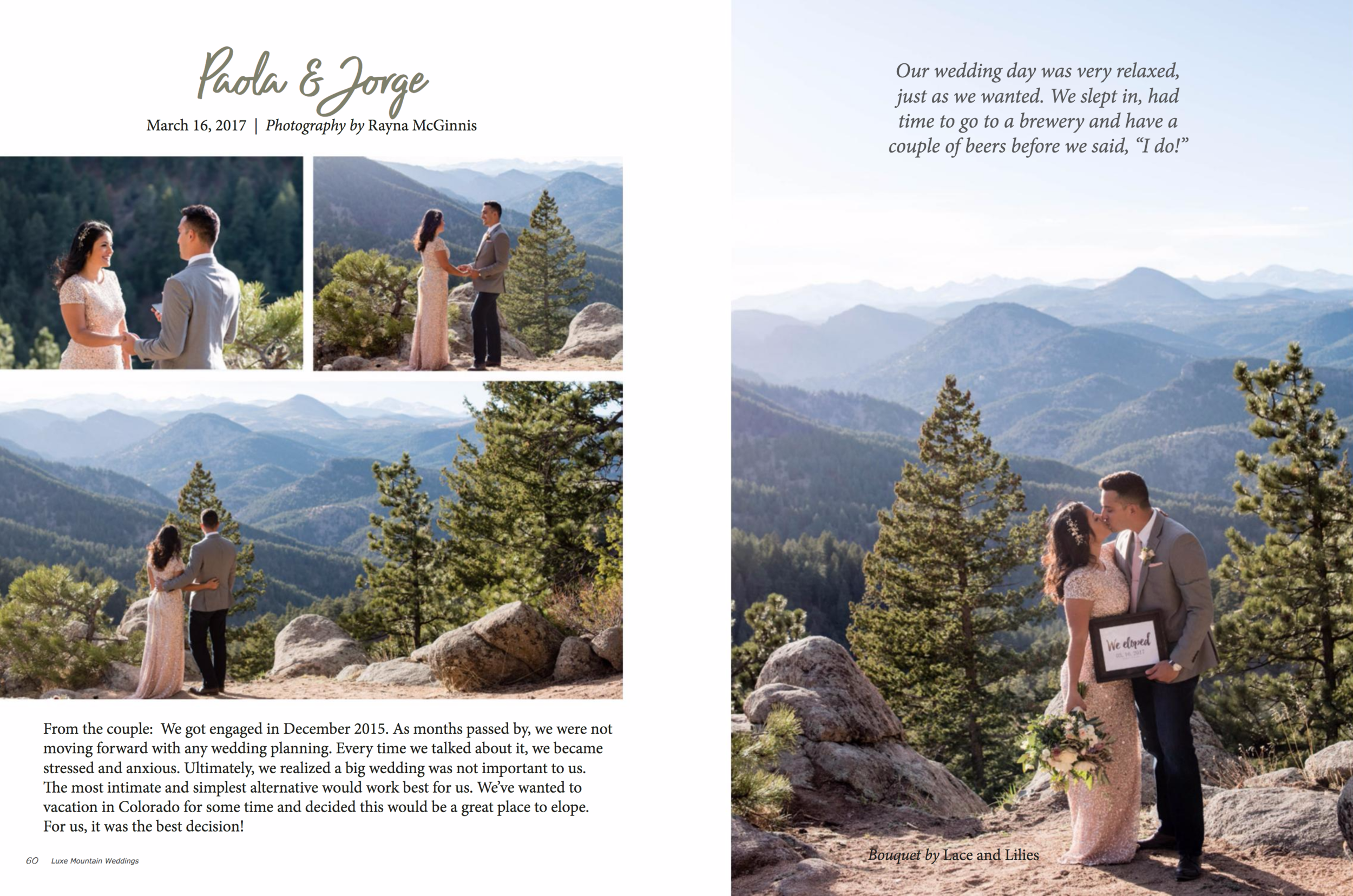 Another feature in the same Luxe Mountain Weddings Magazine - this was an amazing Boulder elopement, we will never tire of seeing our work in print!