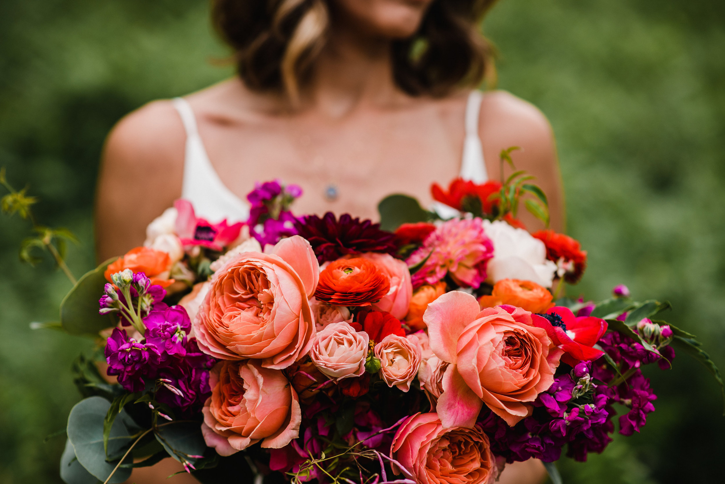 Flowers by Lace and Lilies, summer bold and bright bridal bouquet, Garden Rose, Dahlia, Ranunculus and Anemone