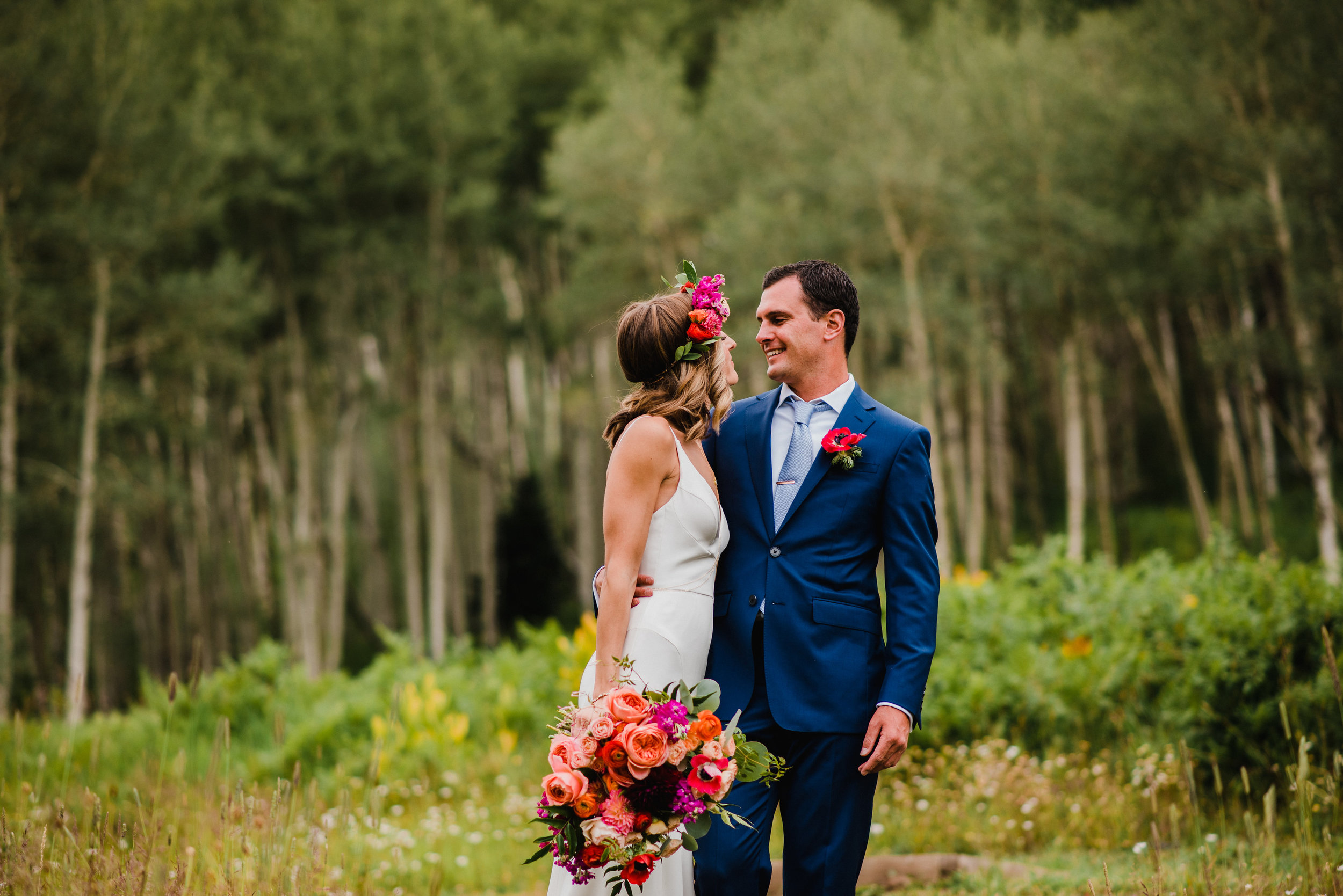 Flowers by Lace and Lilies, Bride and Groom, summer bouquet, flower crown and boutonniere, Beaver Creek Colorado
