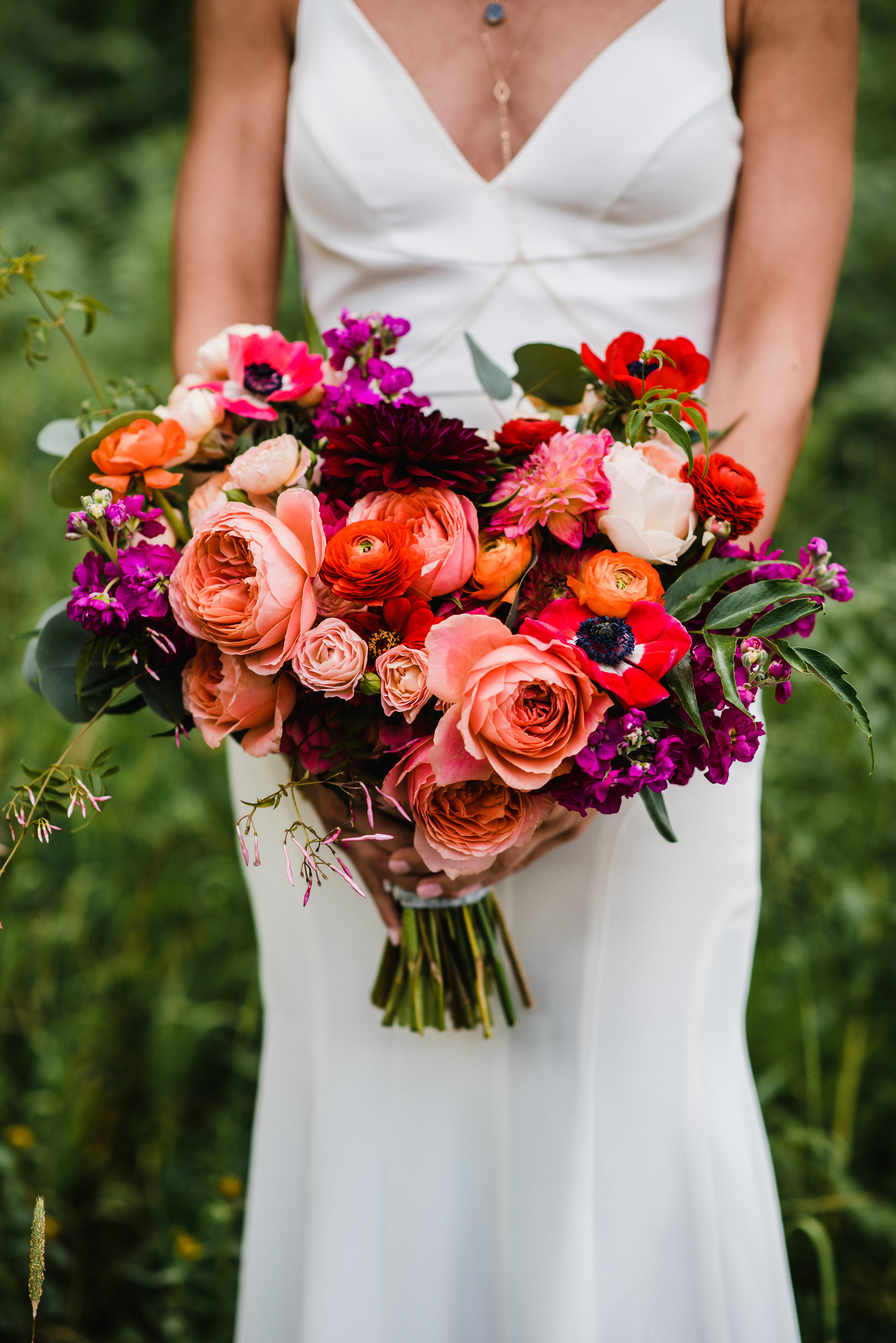 Flowers by Lace and Lilies, colorful and bold summer bouquet, garden rose, ranunculus, anemone, dahlia, jasmine - coral, red, orange and peach