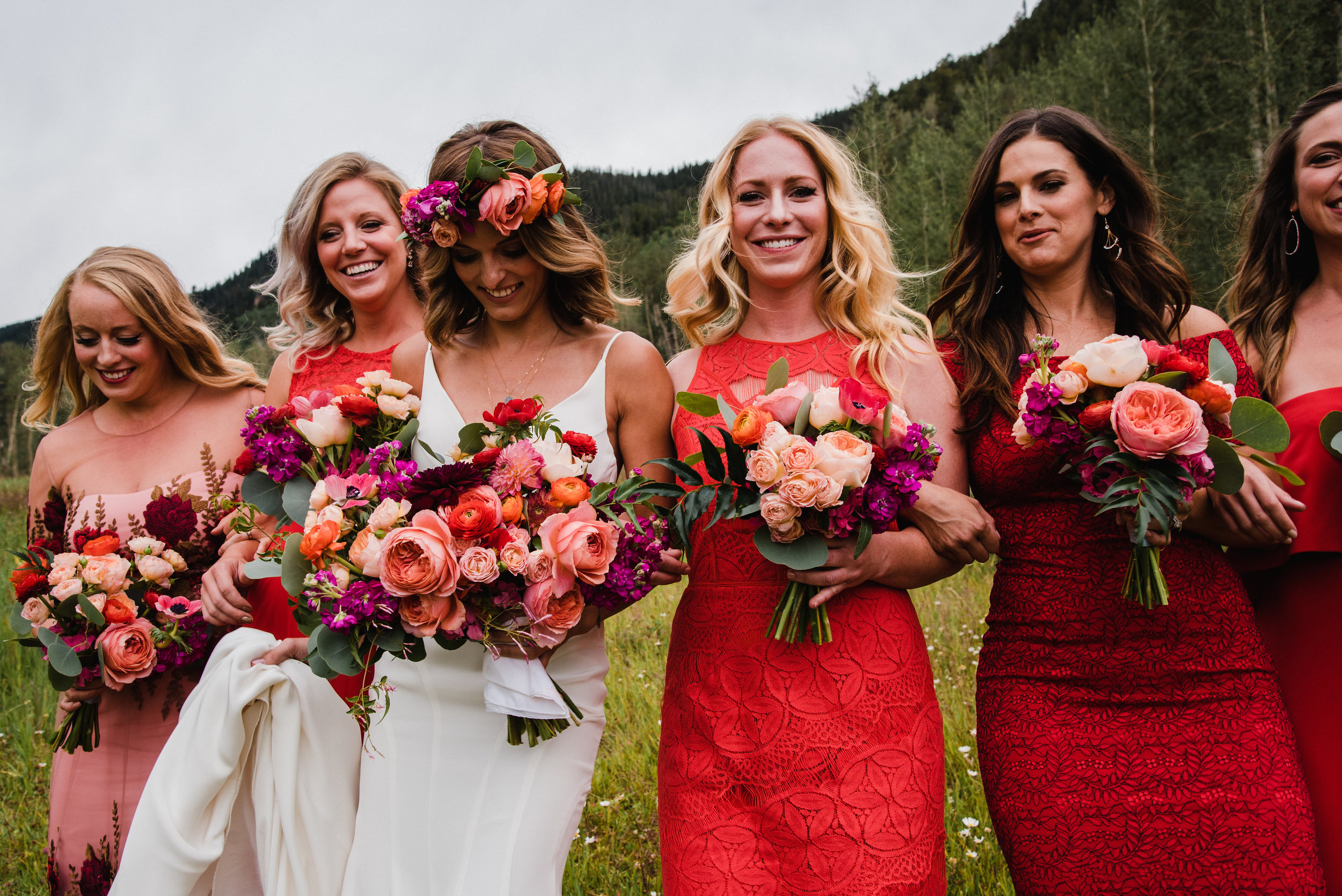 Flowers by Lace and Lilies, red bridesmaid dresses, bold and colorful summer wedding - bridal party