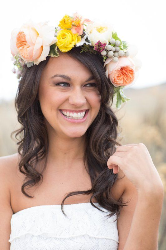 Flowers by Lace and Lilies, wedding bridal flower crown, summer wedding, garden rose and ranunculus