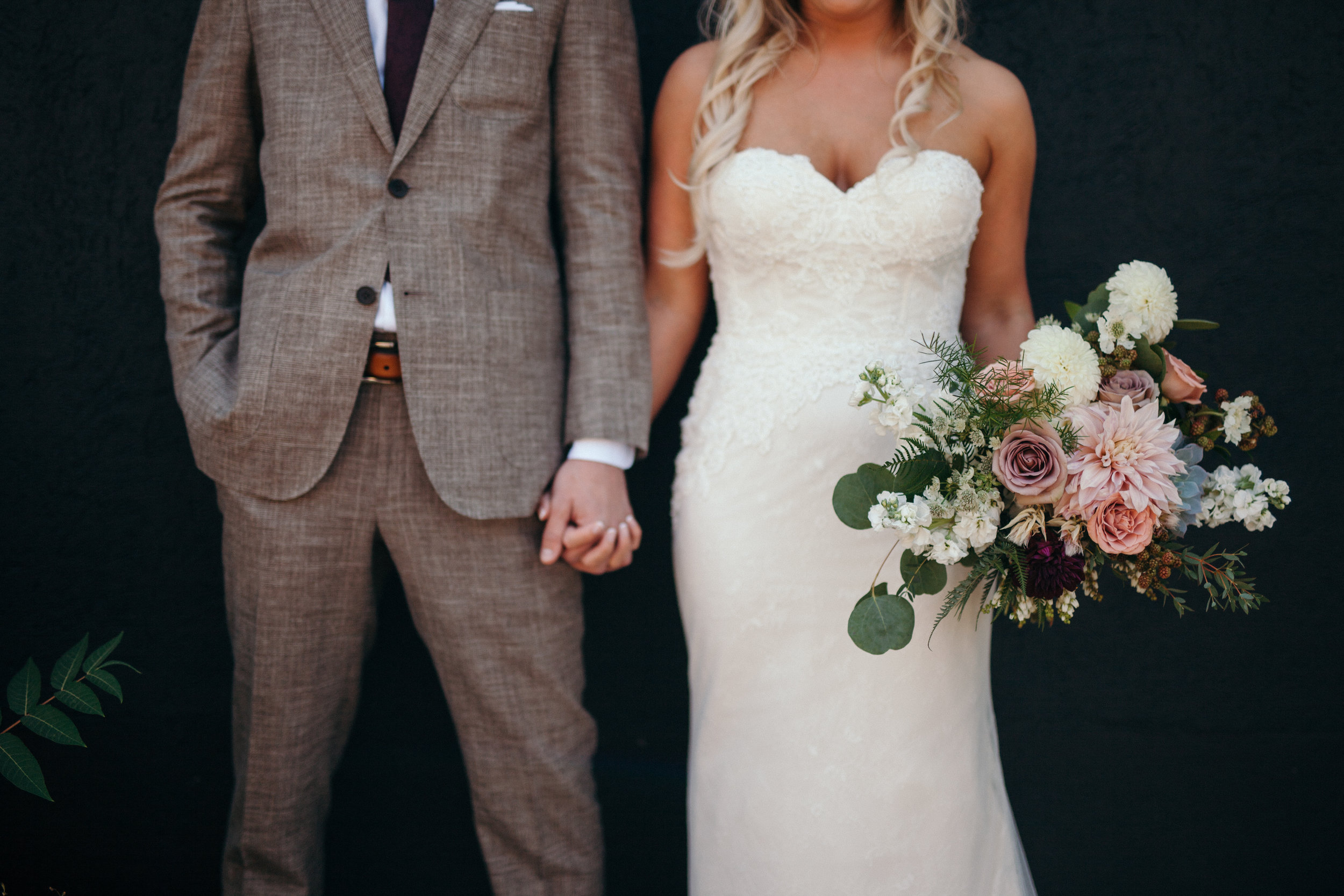 Flowers by Lace and Lilies, wedding flowers, bridal bouquet, blush, mauve, succulents, garden bouquet, grey suit