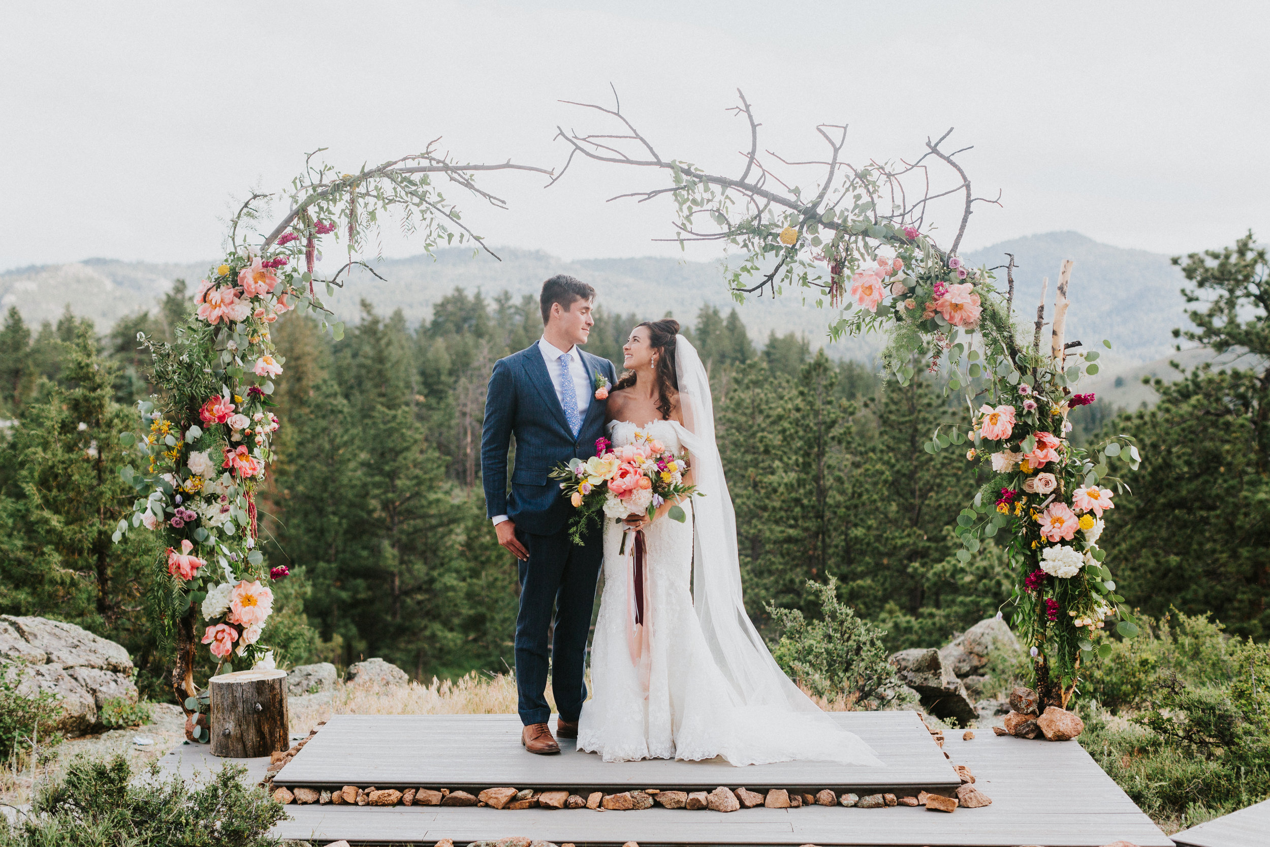 Flowers by Lace and Lilies, arch decor, ceremony decor, ceremony flowers, circle arch, foliage, greenery, wedding flowers, colorado florist,