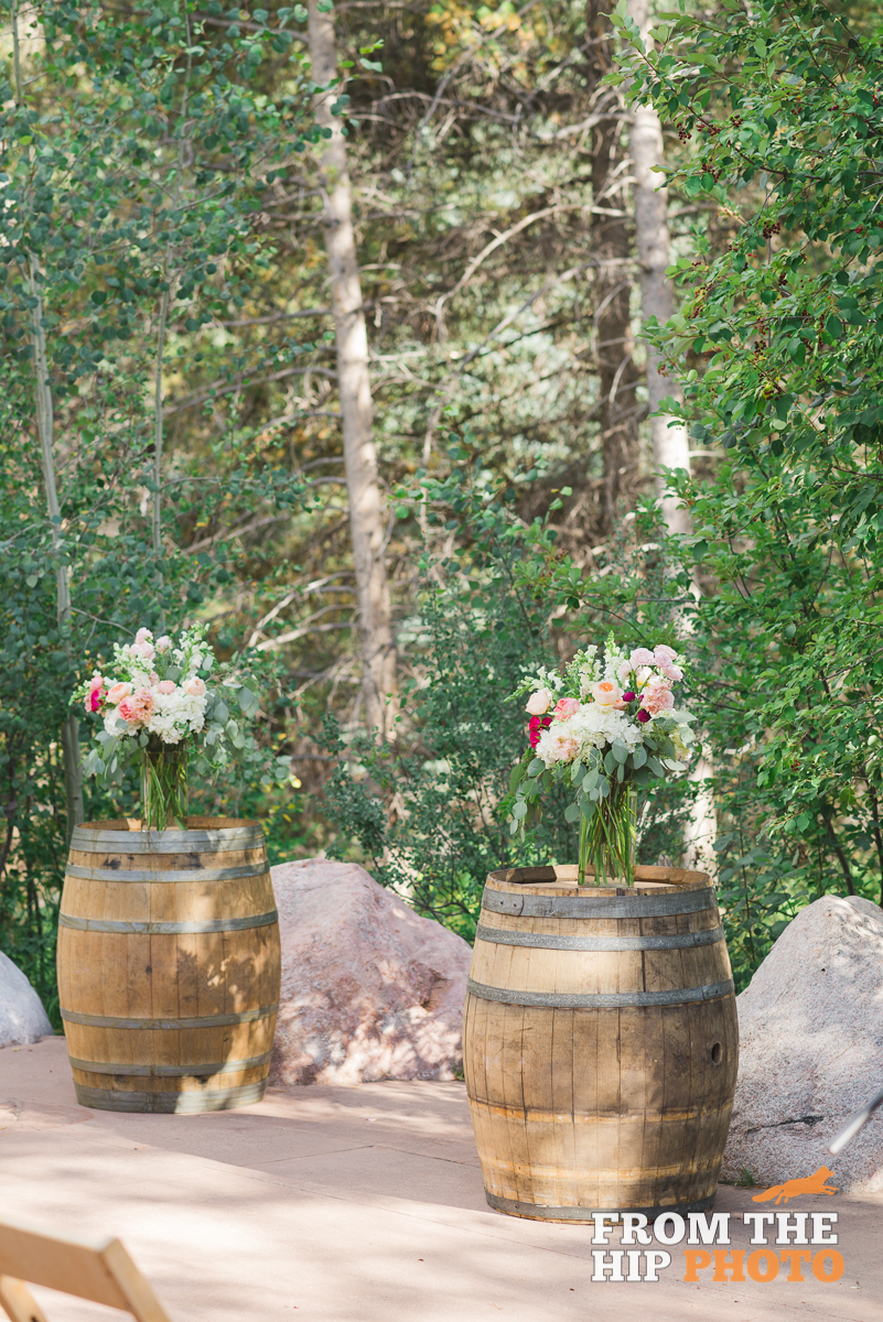 Flowers by Lace and Lilies, ceremony flowers, pink flowers, arch decor, wedding flowers, birch arch, colorado wedding, breckenridge wedding, mountain wedding, colorado wedding, wine barrel flowers