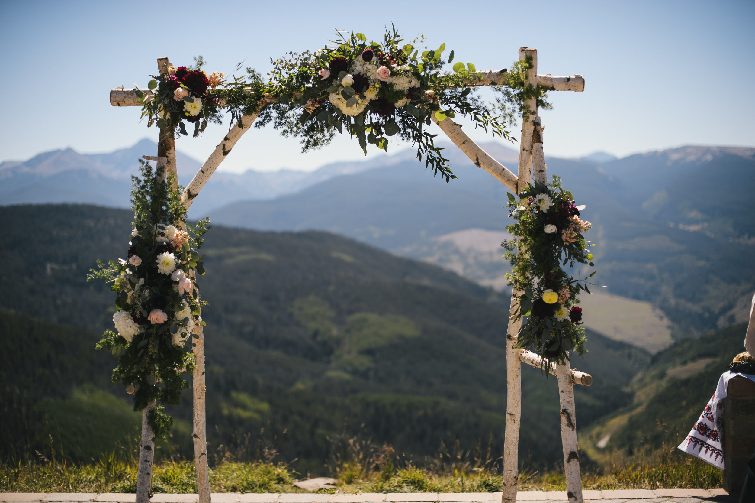 Flowers by Lace and Lilies, ceremony flowers, birch arch, mountain wedding, garland, wedding flowers, ceremony decor