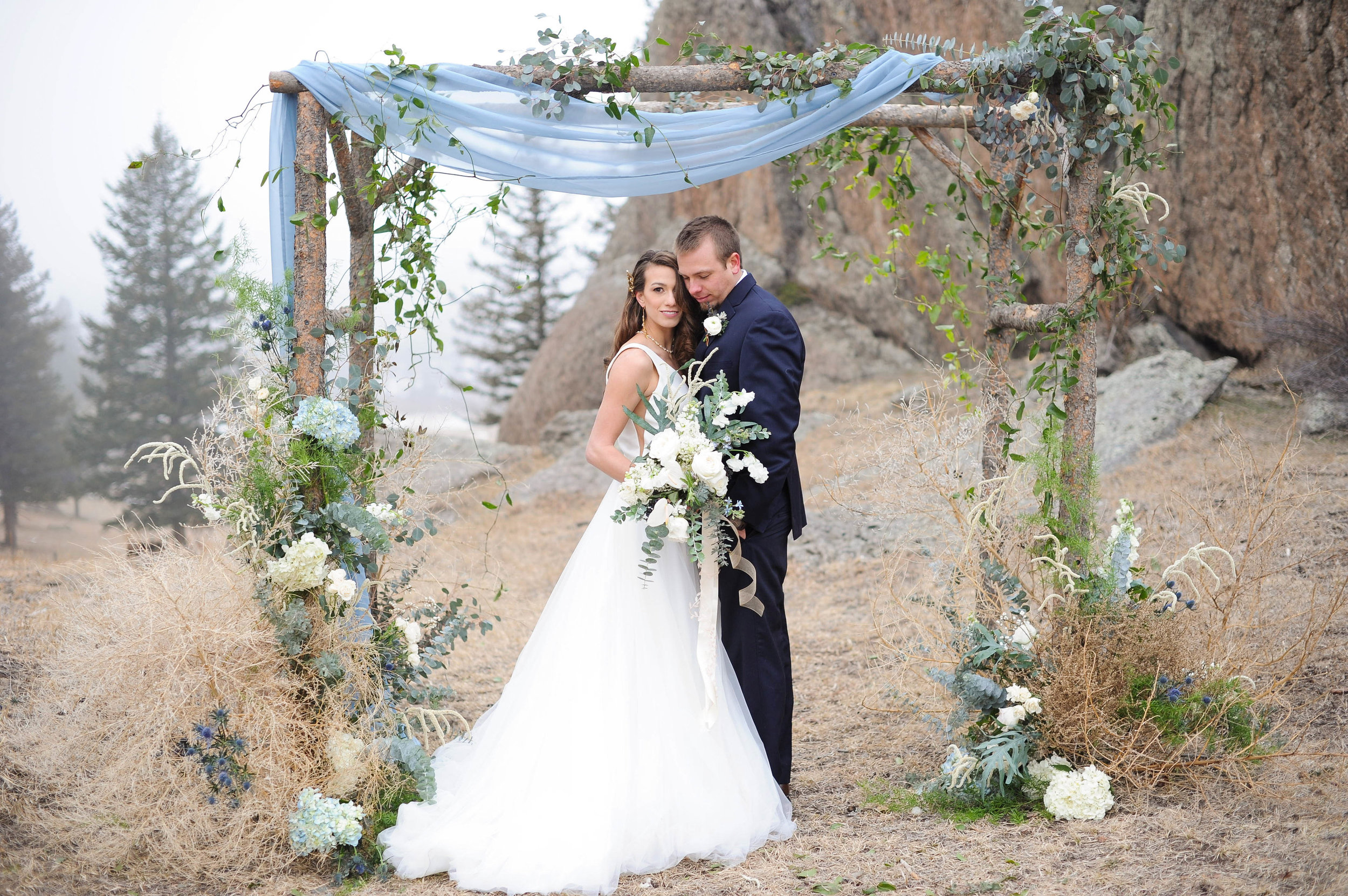 Flowers by Lace and Lilies, arch flowers, ceremony decor, colorado wedding, asymmetric flowers,