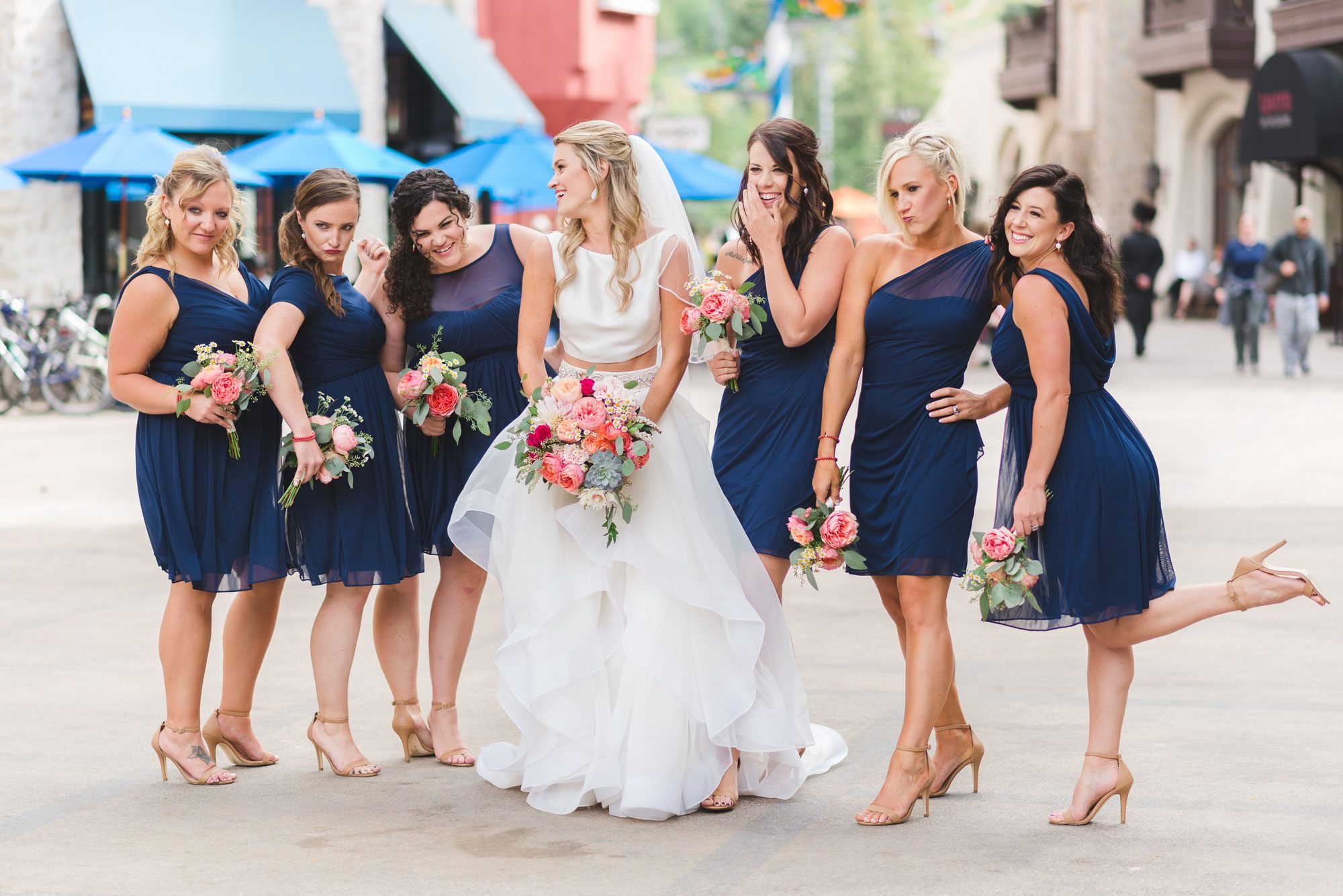 Flowers by lace and lilies, wedding flowers, bridal party, bride tribe, bridesmaids, vail wedding, navy dresses, navy gowns, bridesmaid gowns, pink wedding flowers