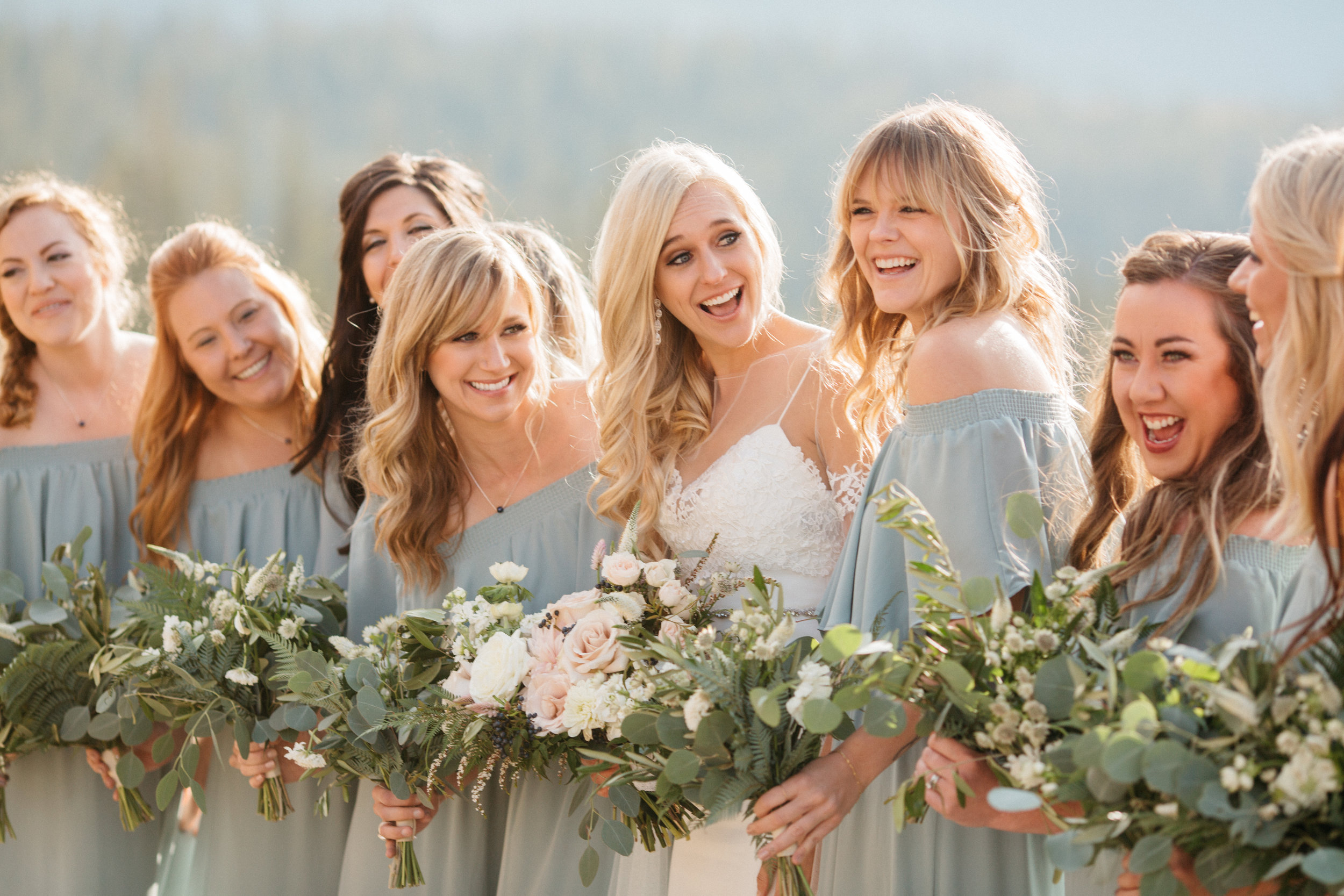 Flowers by Lace and Lilies, greenery bouquets, bridesmaid flowers, bridal bouquet, colorado wedding, mountain wedding, dusty blue bridesmaid dress