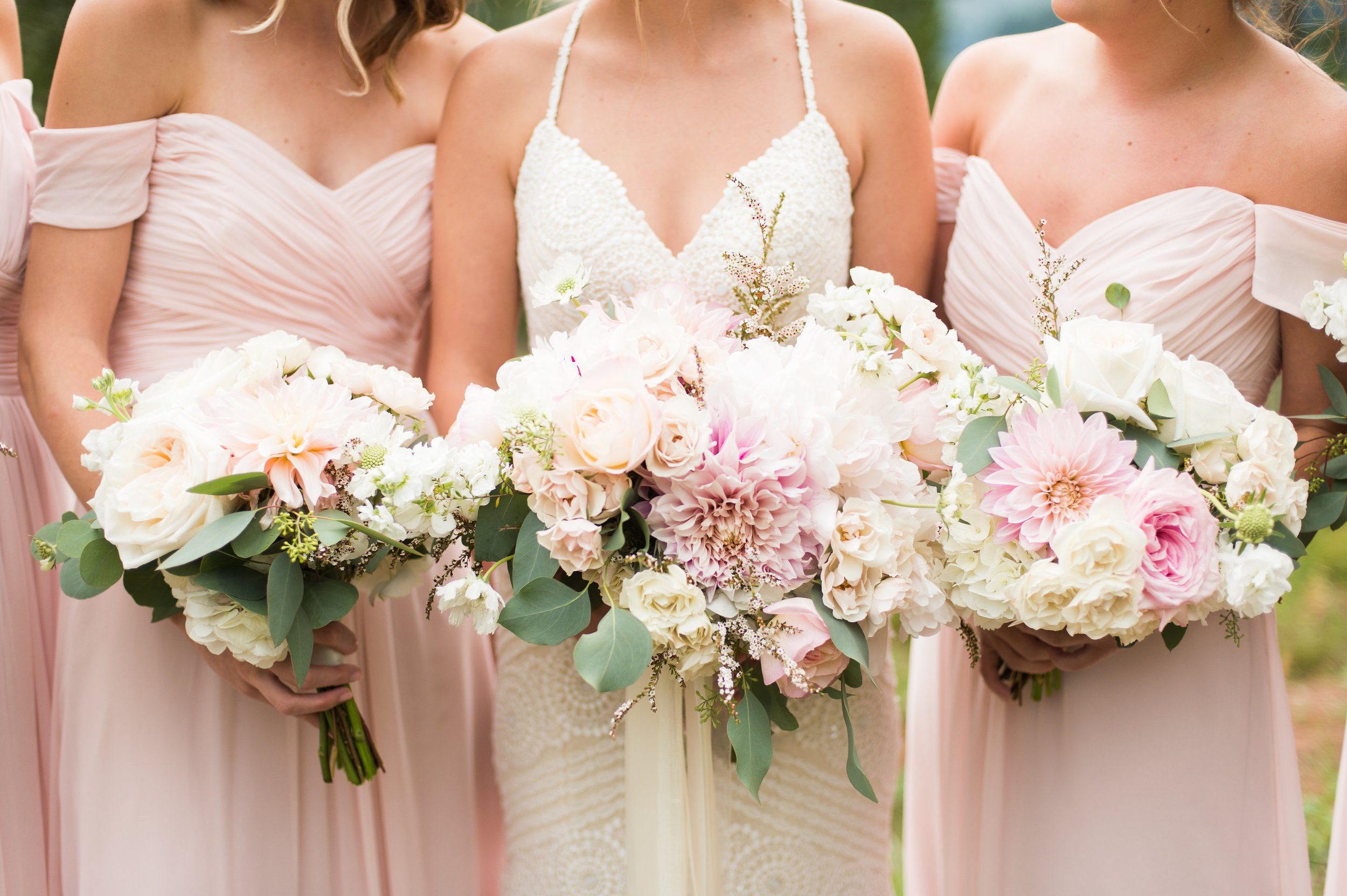 Flowers by Lace and Lilies, greenery bouquets, bridesmaid flowers, bridal bouquet, colorado wedding, mountain wedding, blush bridesmaid dress