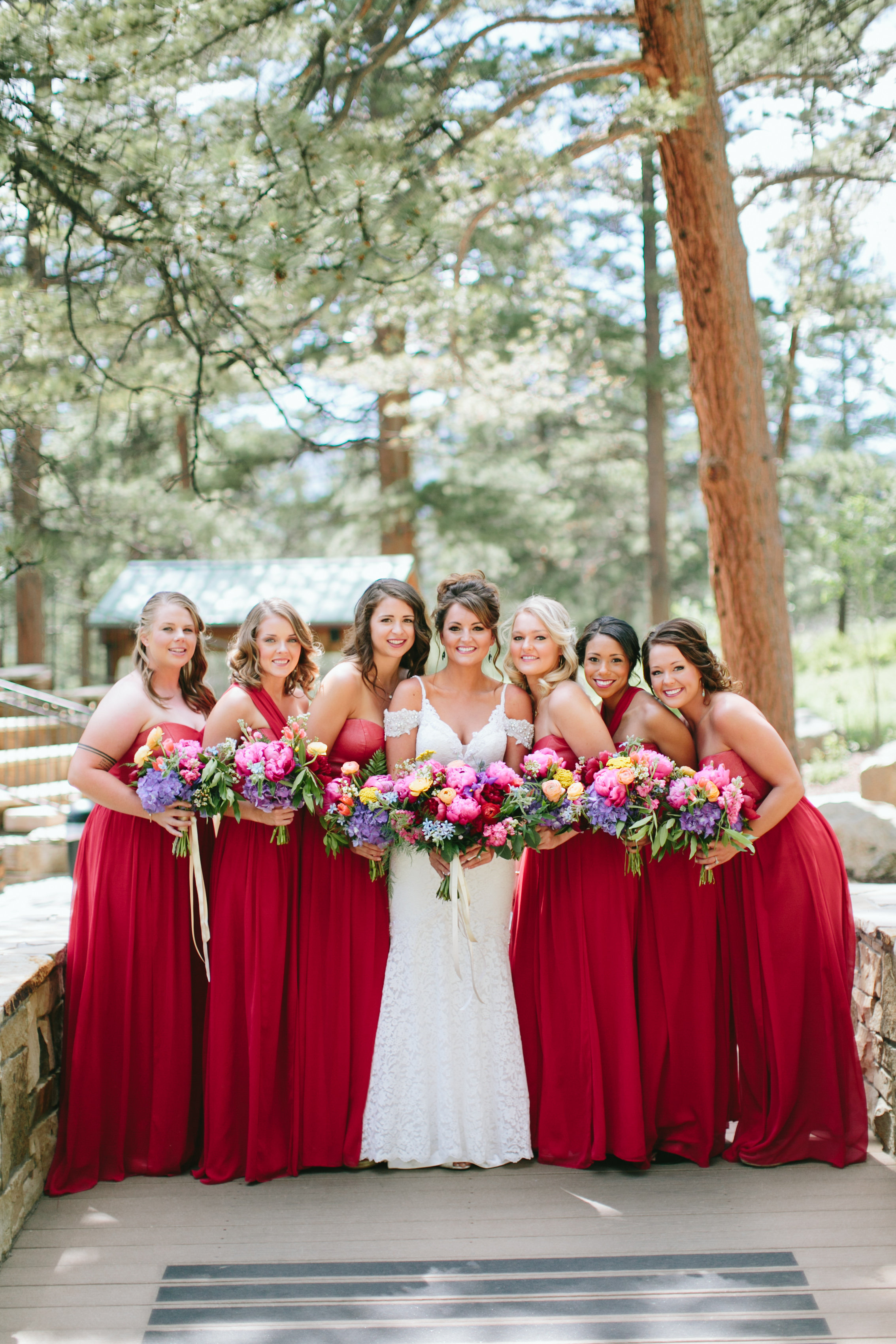 Flowers by Lace and Lilies, colorful bouquets, bridesmaid dresses, bridal bouquet, bridesmaid bouquets, colorado wedding, mountain wedding