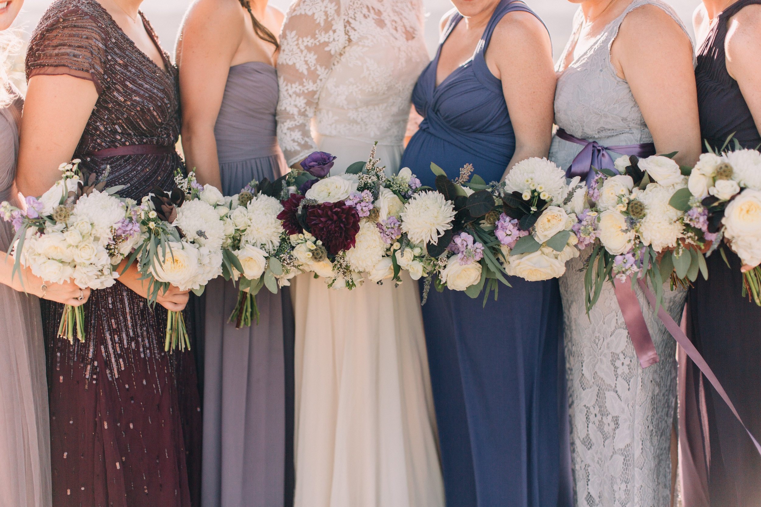 Flowers by Lace and Lilies, dusty wedding, dusty color palette, burgundy, navy, grey, bridal party, wedding flowers, flowers, bridal bouquet