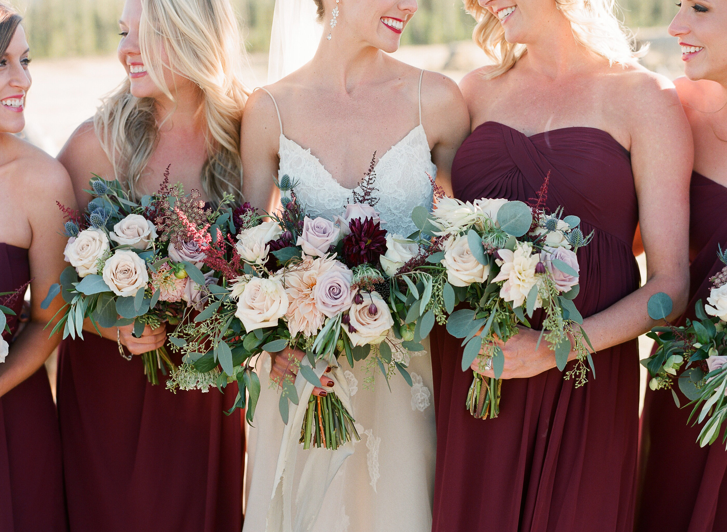 Flowers by Lace and Lilies, wedding flowers, greenery, foliage burgundy flowers, burgundy bridesmaid gowns, flowers, bridesmaid, bridal bouquet, bride tribe