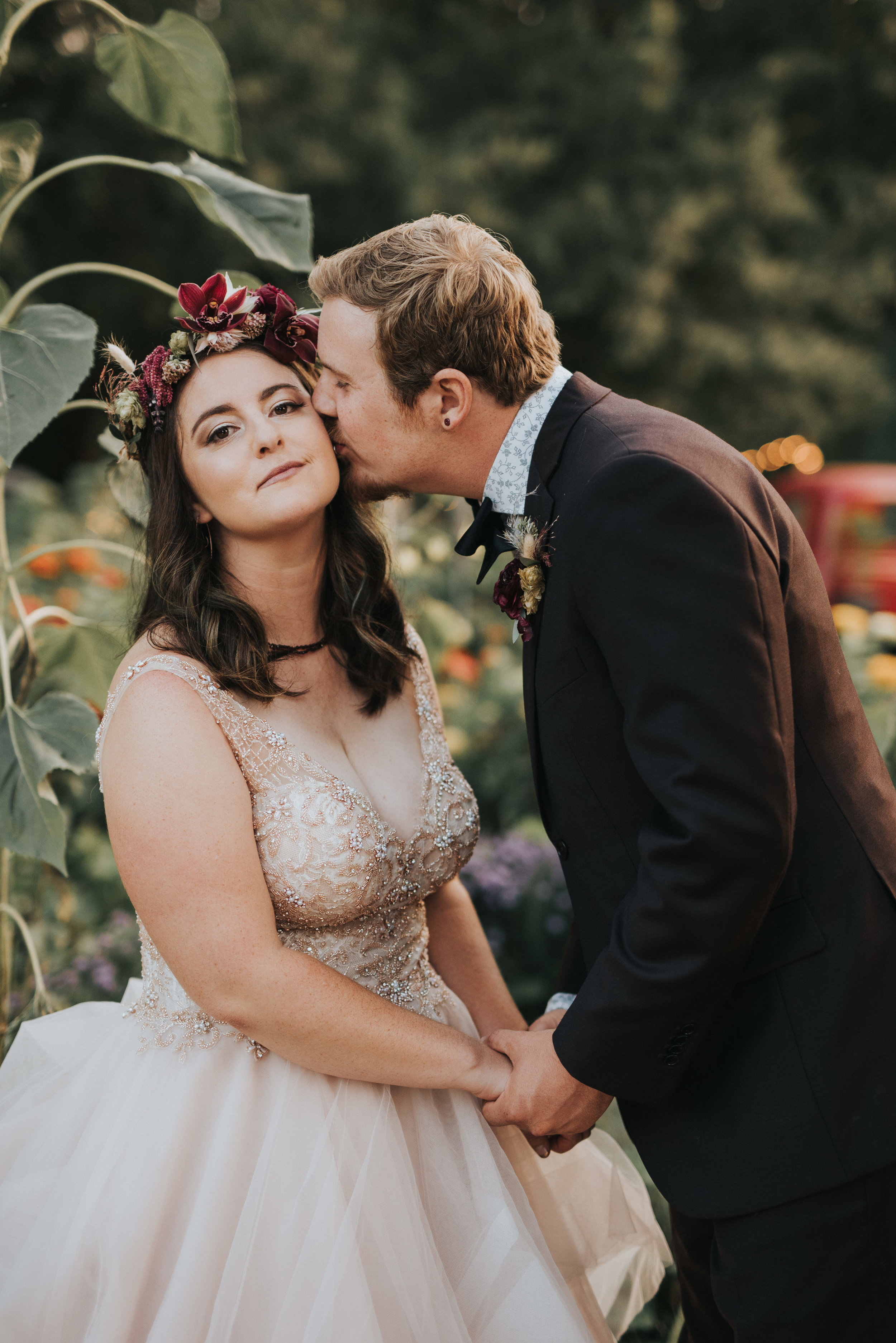 Flowers by Lace and Lilies, bridal bouquet, moody flowers, burgundy wedding, dusty colored wedding, pampas grass, lyons farmette wedding, colorado wedding, anemone, amnesia roses, bride and groom, first look, wedding photography, flower crown, jewel tones, big floral crown