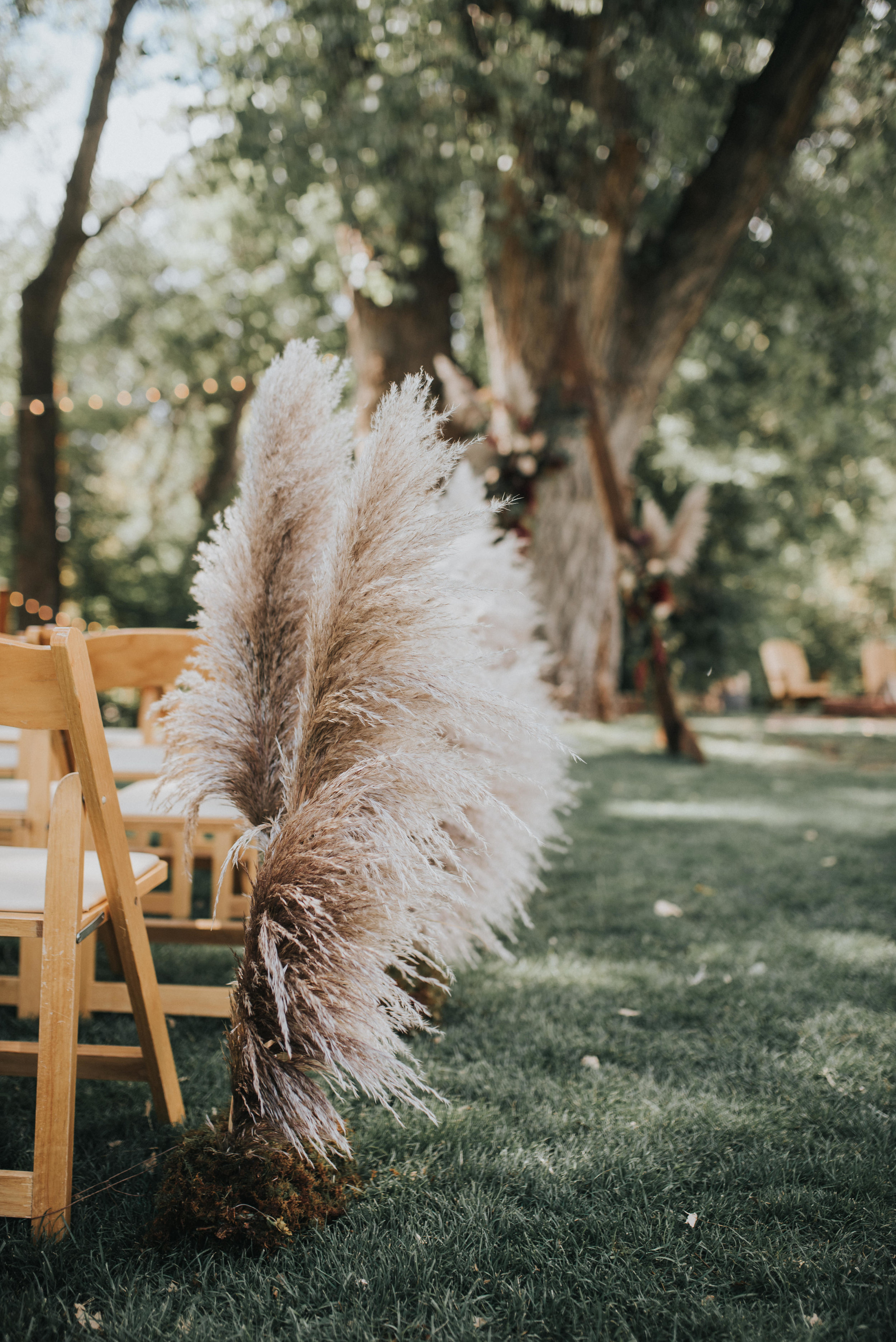Flowers by Lace and Lilies, boutonniere, wedding flowers, jewel tones, pampas grass, hops, texture, colorado wedding, a-frame arch, arch flowers, altar flowers, aisle flowers, aisle pampas grass, ceremony flowers, moody toned wedding, pampas grass