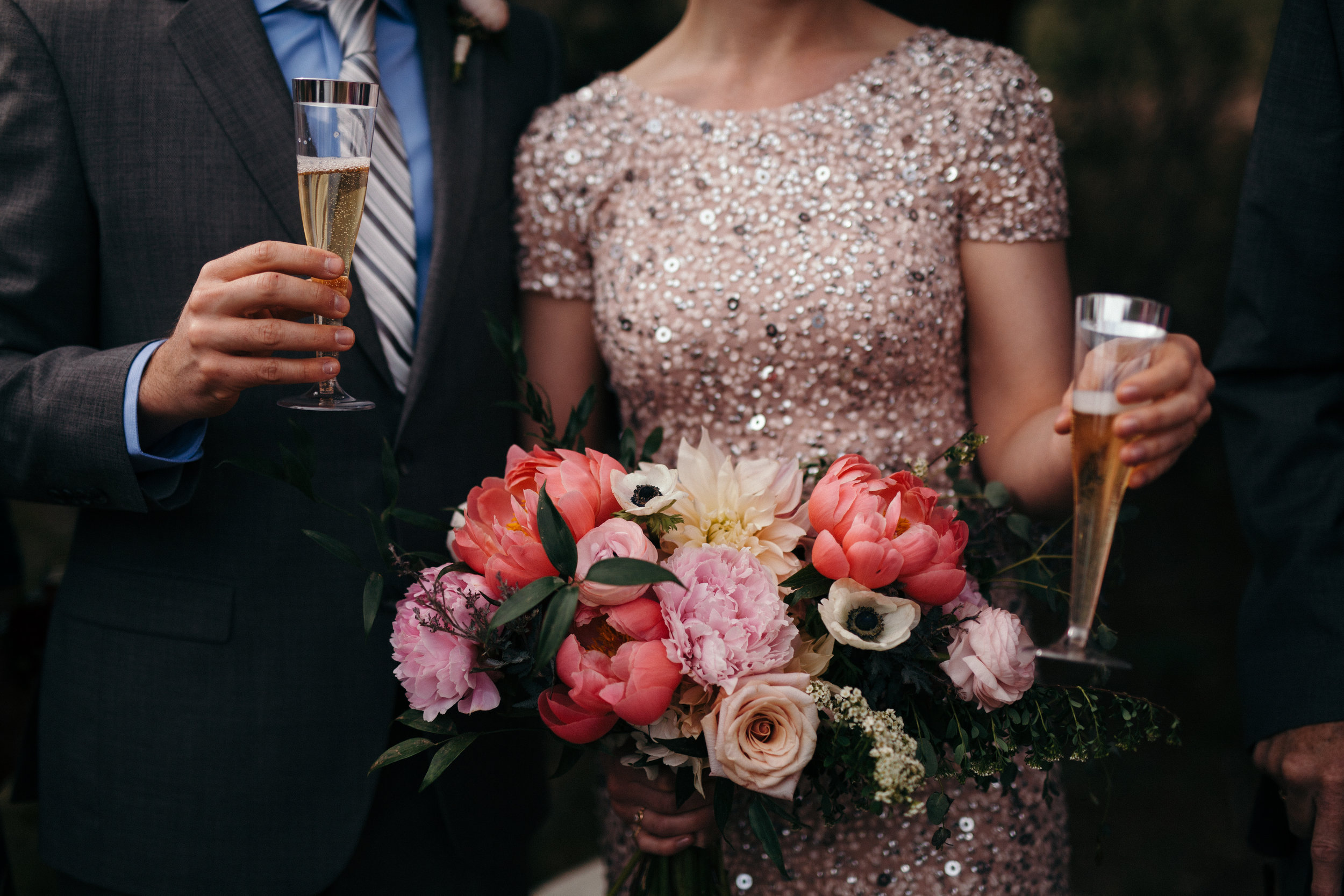 Flowers by Lace and Lilies, elopement flowers, wedding flowers, bridal bouquet, champagne toast, bridal gown, pink flowers