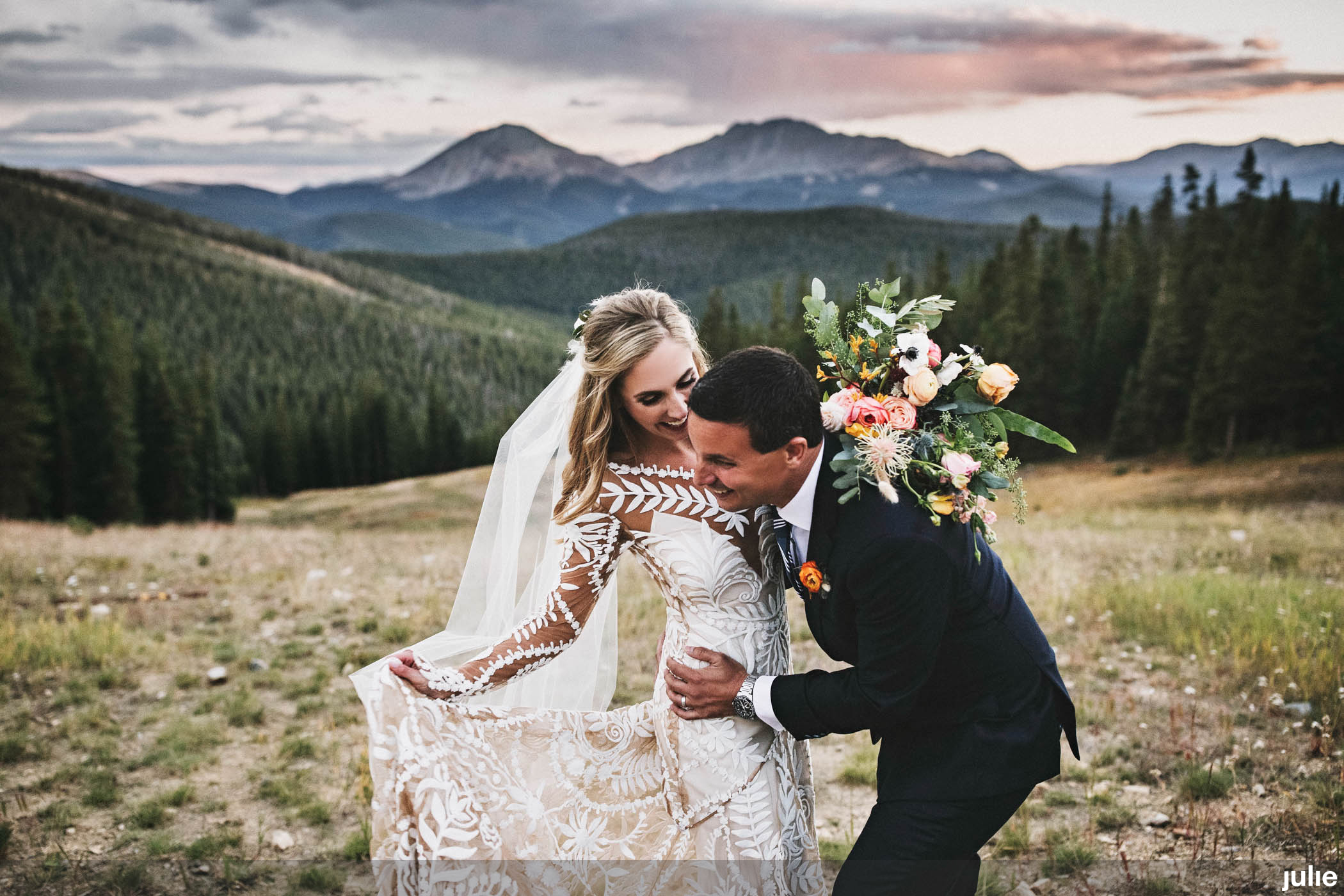 Flowers by Lace + Lilies, bridal bouquet, boutonnieres, colorful flowers, greenery, elopement photography, elopement flowers, colorado elopement