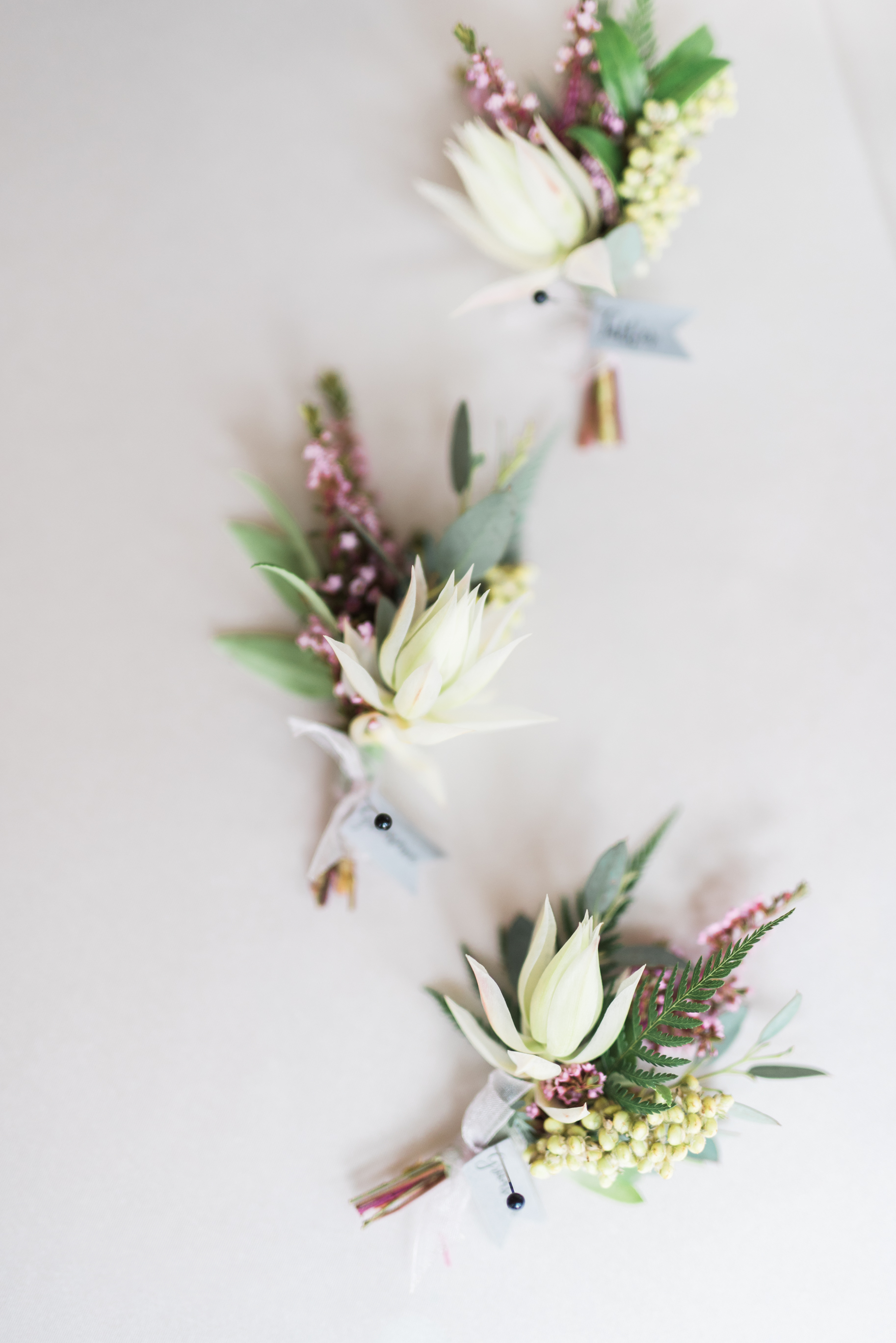 Flowers by Lace + Lilies, bridal bouquet, boutonniere, textured boutonnieres, wedding flowers, blush wedding