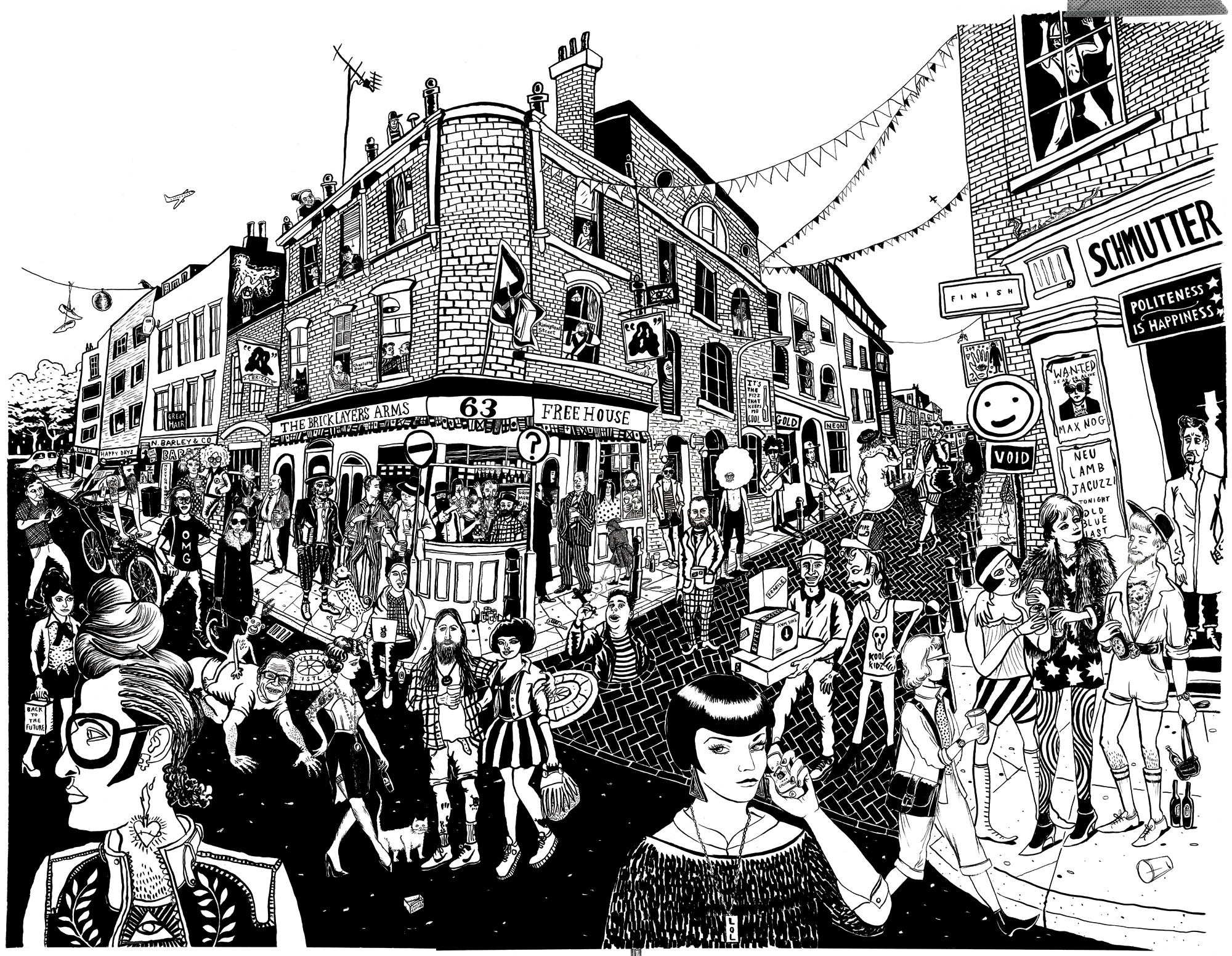 The Bricklayers Arms at the corner of Rivington Street and Charlotte Road. Featuring Mole Vessey, James Creighton, Duffy, Banksy and a man with a balloon haircut.