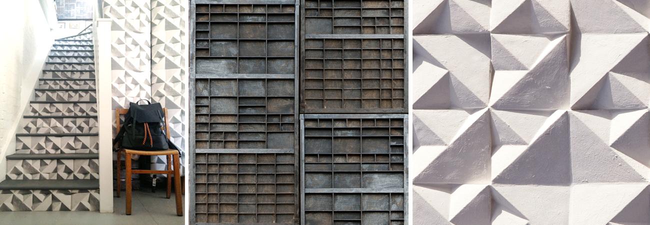 ELLA DORAN'S ACCENT MURALS, INSPIRED BY CONCRETE RELIEFS AND ARCHITECTURE.