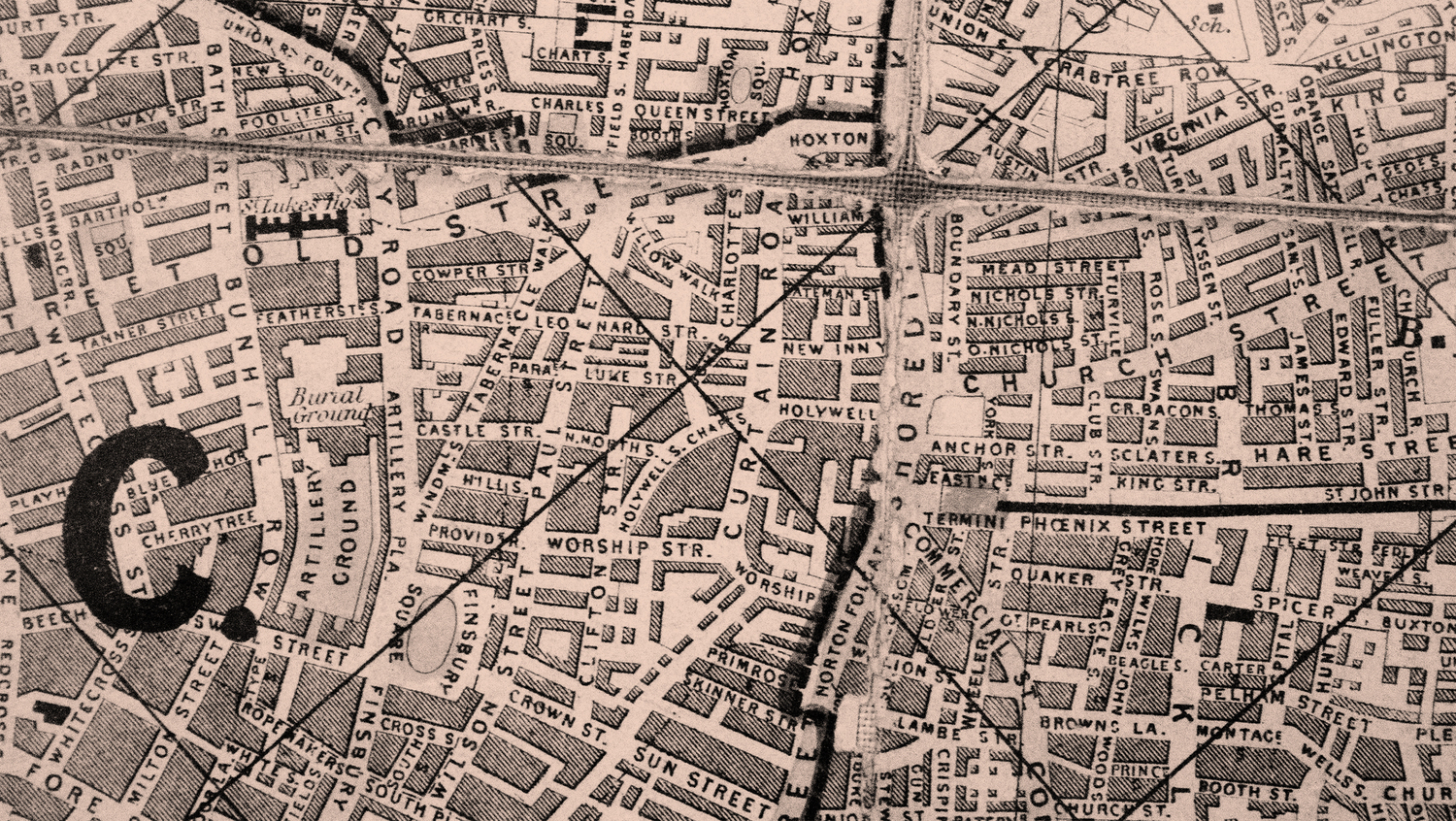 Shoreditch in 1861, without rivington street