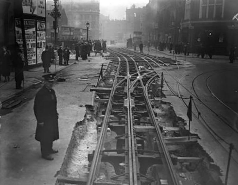 Tramlines under construction on Shoreditch High Street.Photograph courtesy of London Transport Museum