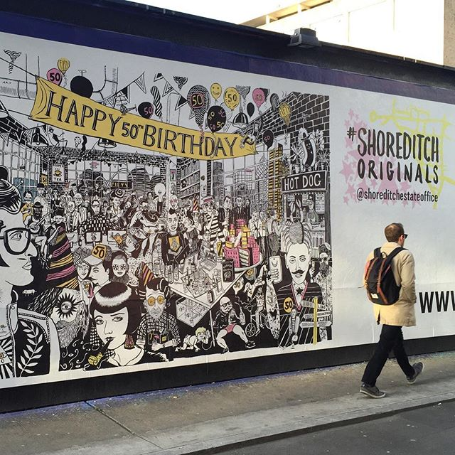 Take a walk past our lovely #shoreditchoriginals 50th birthday #illustration by @le_gun_london