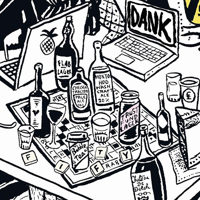 A table of #dank #tech #booze and #scrabble in the @estateofficeshoreditch 50th birthday party #illustration by @le_gun_london