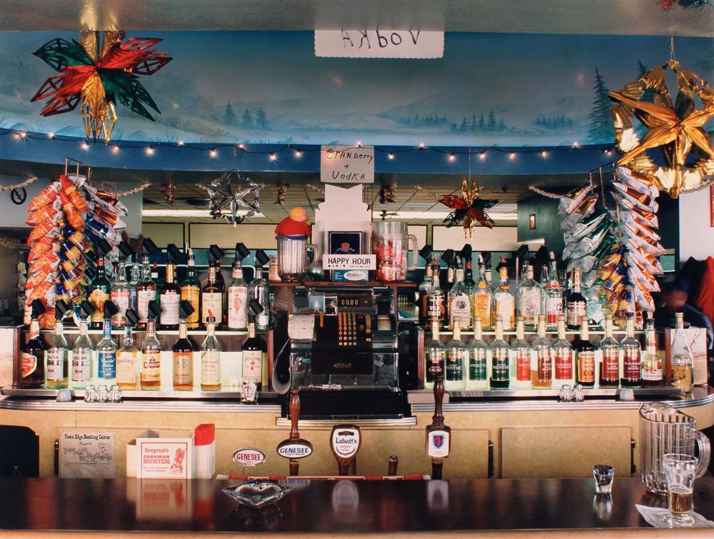 Marion Faller | Town Edge Bar and Bowling Center, with bar canopy mural by Myron Kawa (1989)