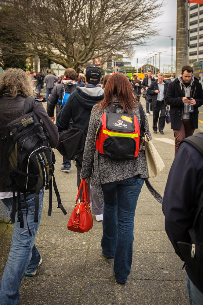 This lady was prepared, carrying a 'Grab & Go' emergency kit backpack