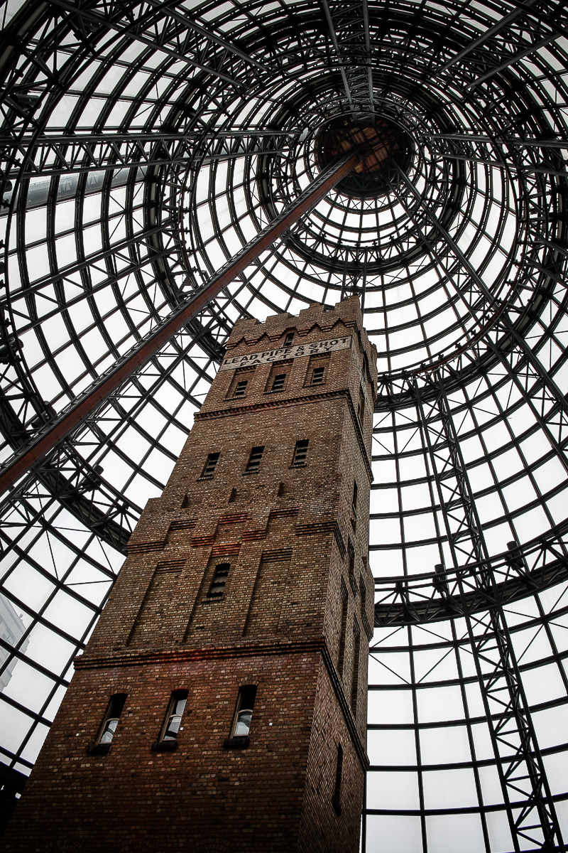 The shot tower in Melbourne Central