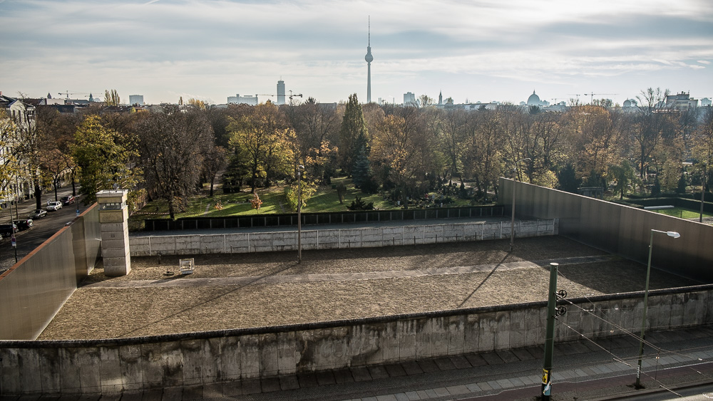 Preserved wall with Fernsehturm on the skyline