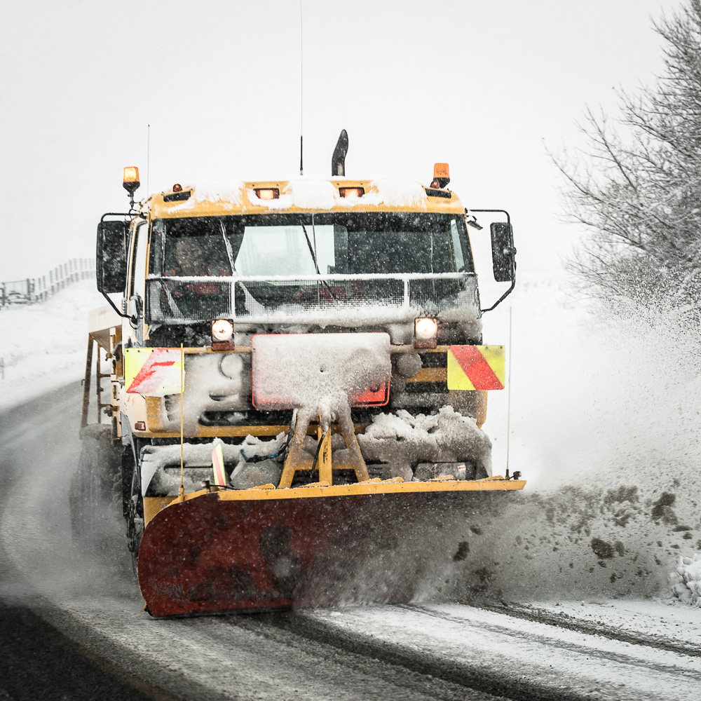 Snow sweeping on the back road