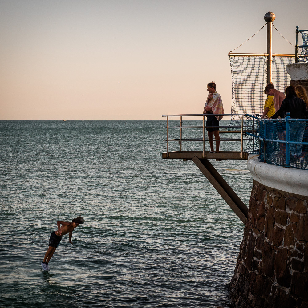 Diving off the pier