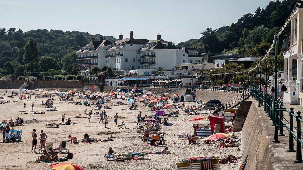 The beach at St.Aubin, across the bay from St.Helier