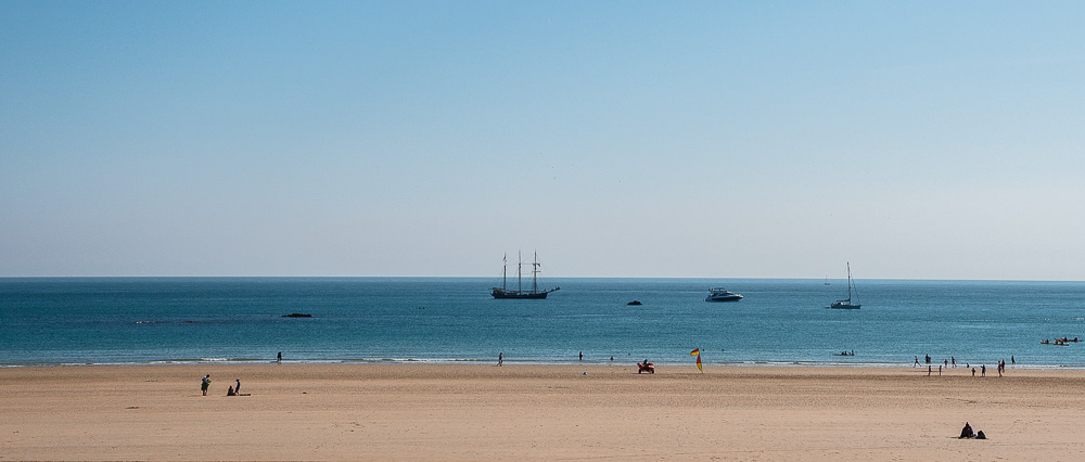 St.Aubin beach and pirate ship