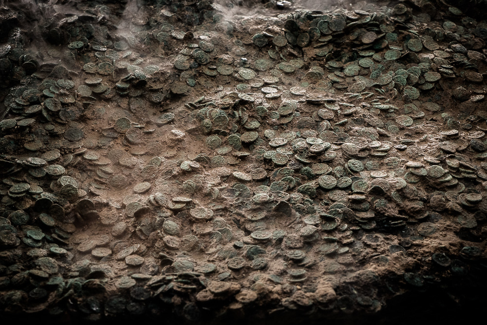 The Grouville Hoard of 70,000 ancient Roman and Celtic Coins in the Jersey Museum.