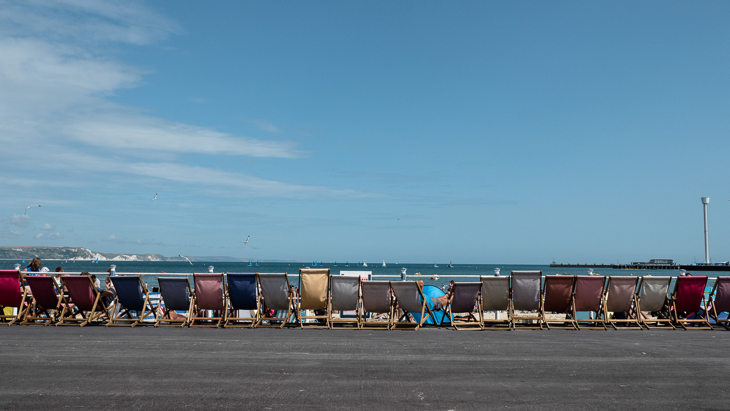Deck chairs and one old guy