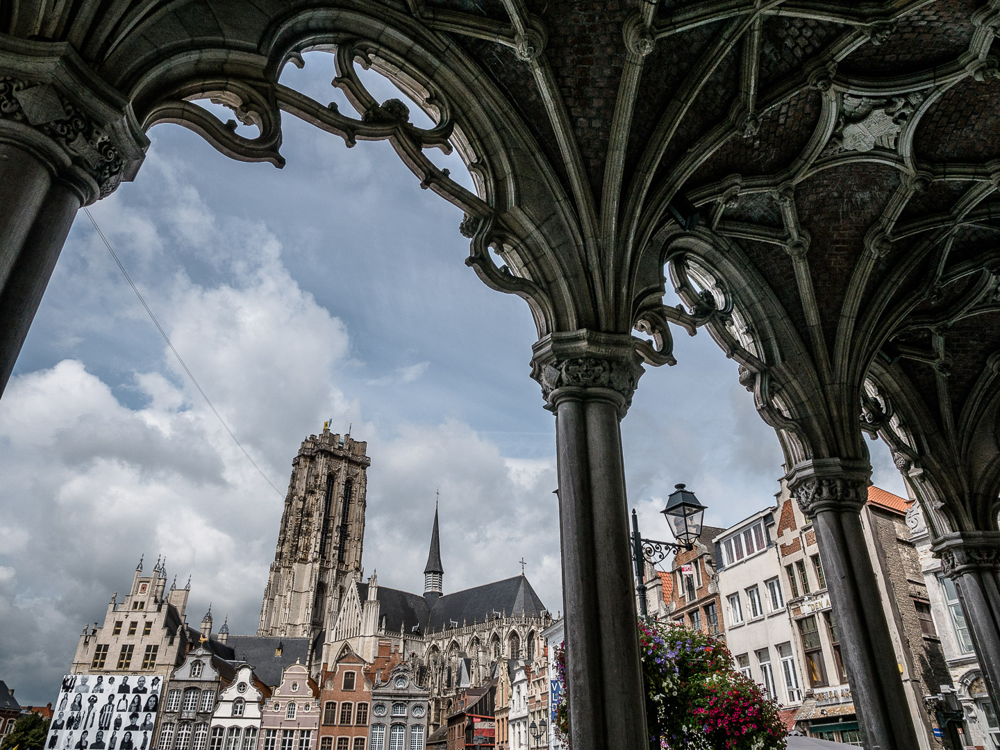 Grote Markt and Sint-Romboutskathedraal from under the City Hall
