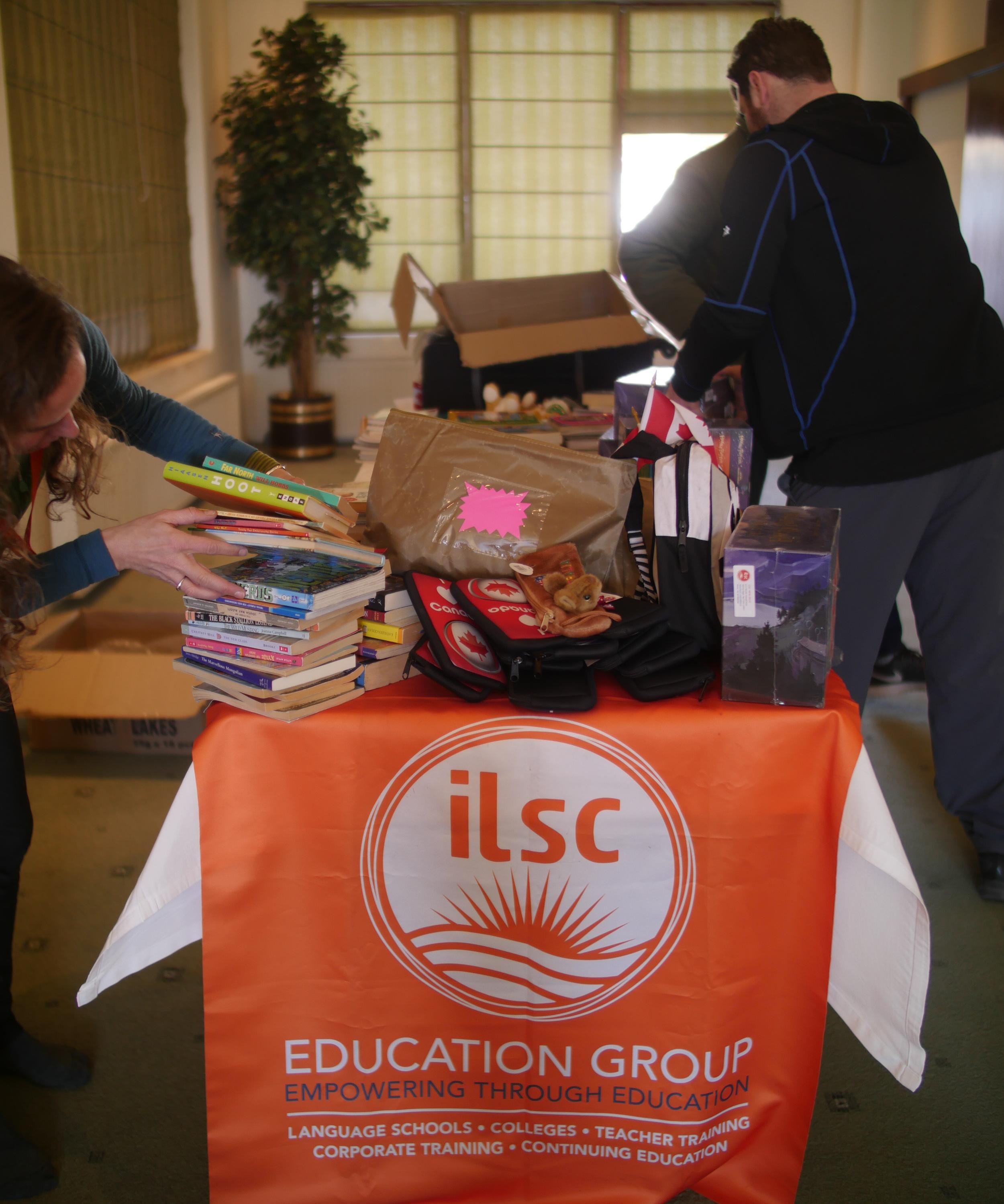 Book-sorting in Leh, with Nadine (ILSC) & Adam (THF)