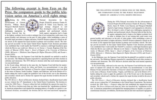Two layouts shown in Drs. Larson and Picard's report – one with poorly arranged typography, spacing and layouts, and one with everything laid out correctly. Which would you rather read?