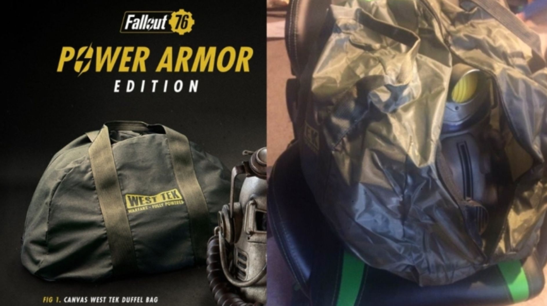 Bethesda's Fallout 76 Power Armor edition was advertised to include a durable-looking canvas bag, but was shipped to consumers with a shoddy nylon bag instead due to budgeting errors – much to the dismay of fans.