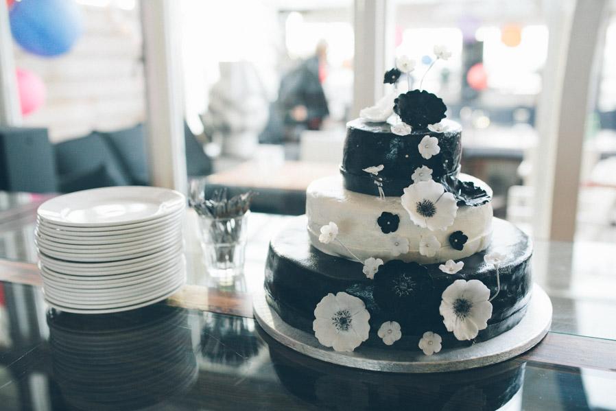 Una bonita tarta bicolor.