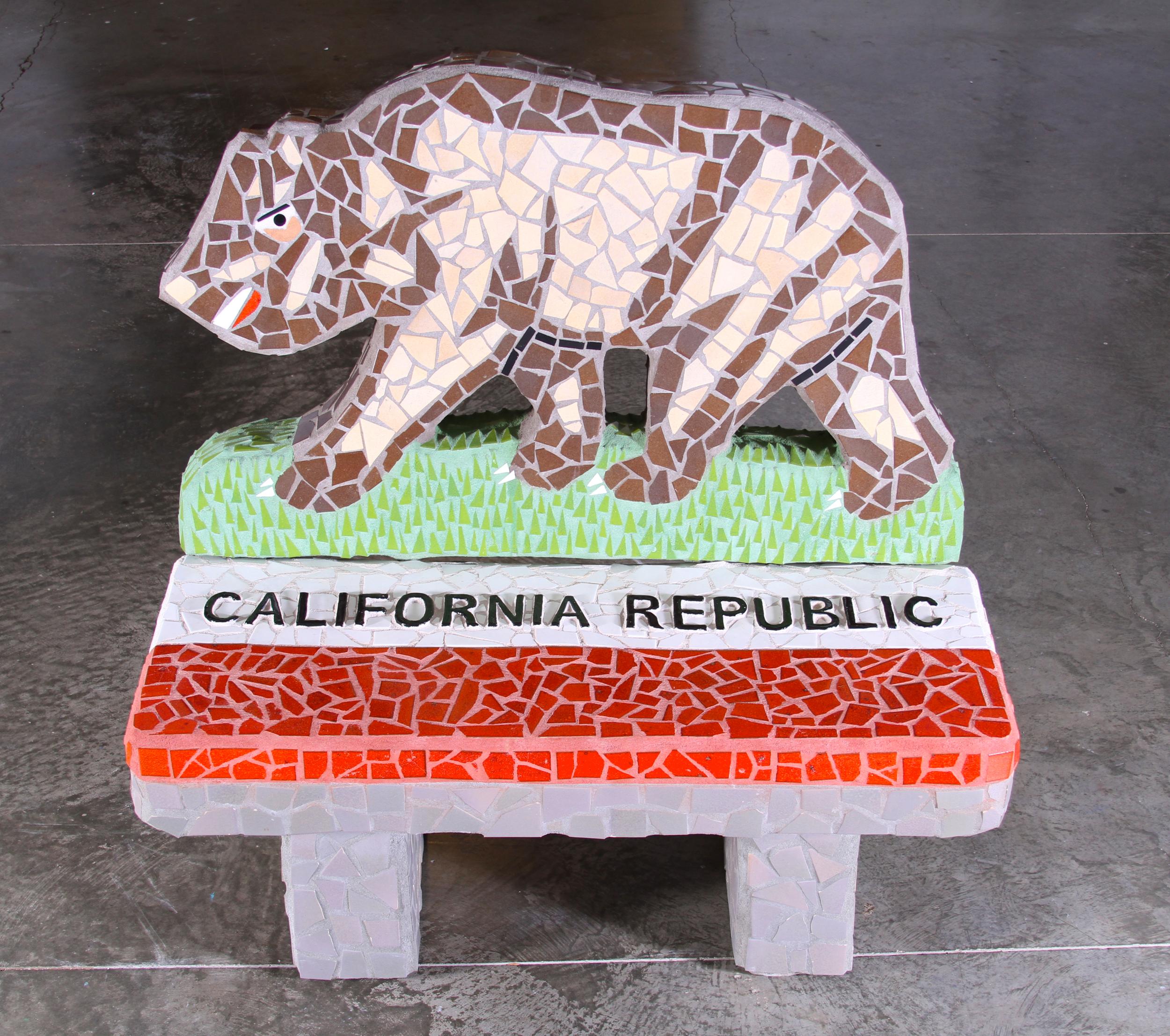 """California Republic Bench"" 50""x48""x37"" Ceramic tile and cement 2011"