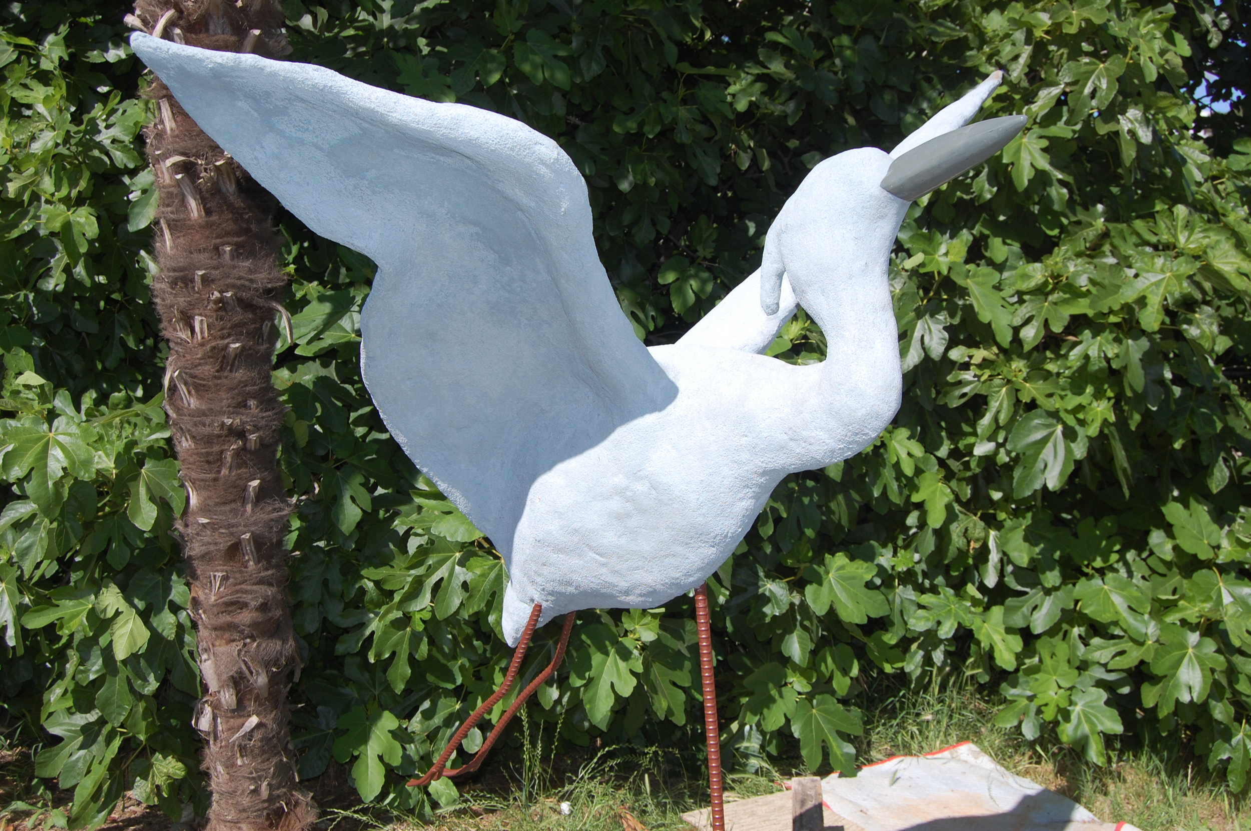 """""""Great Blue Heron"""" 48""""x59""""x49"""" Cement and steel 2010"""