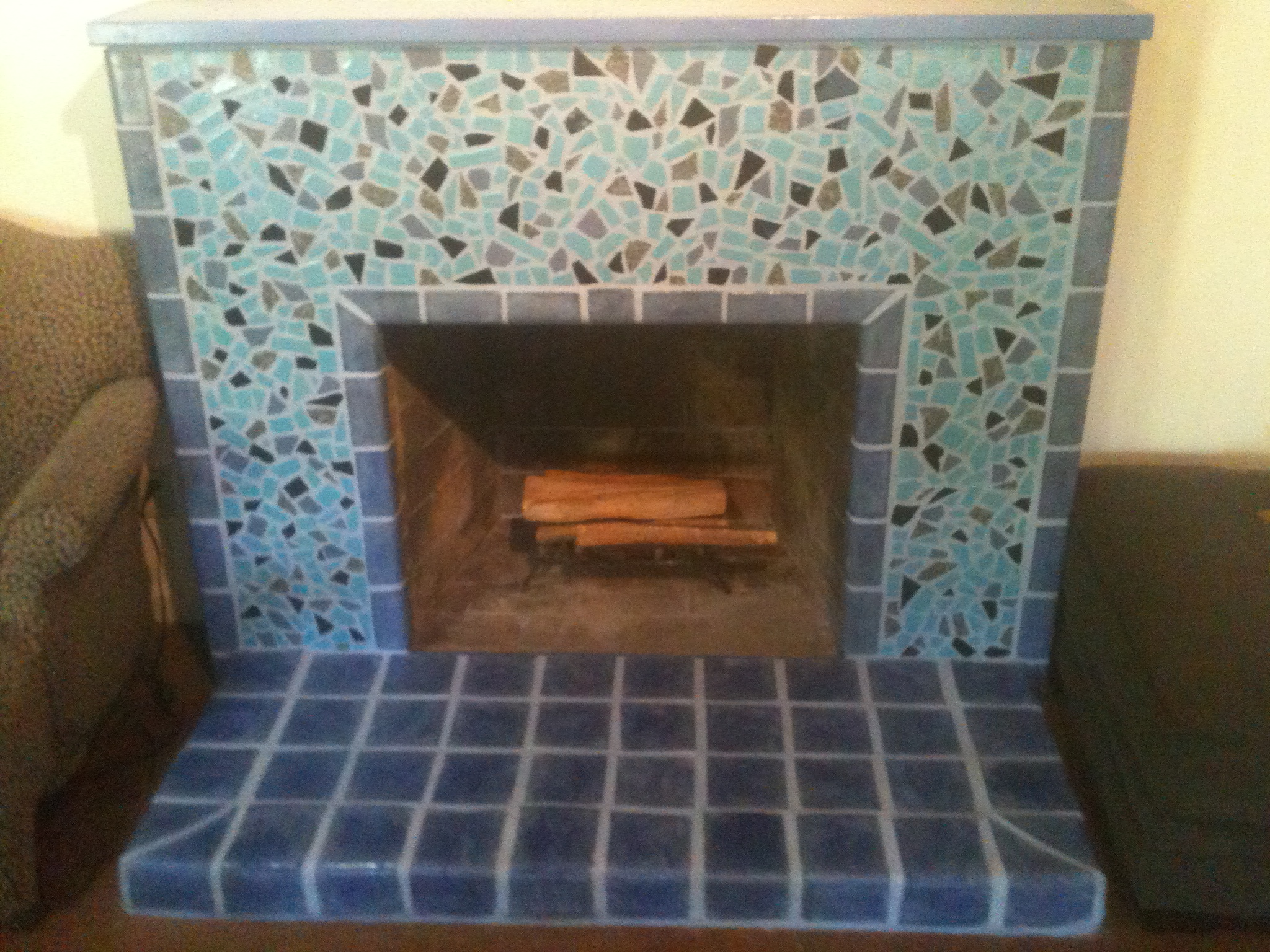 Resurface of existing fireplace in Davis home