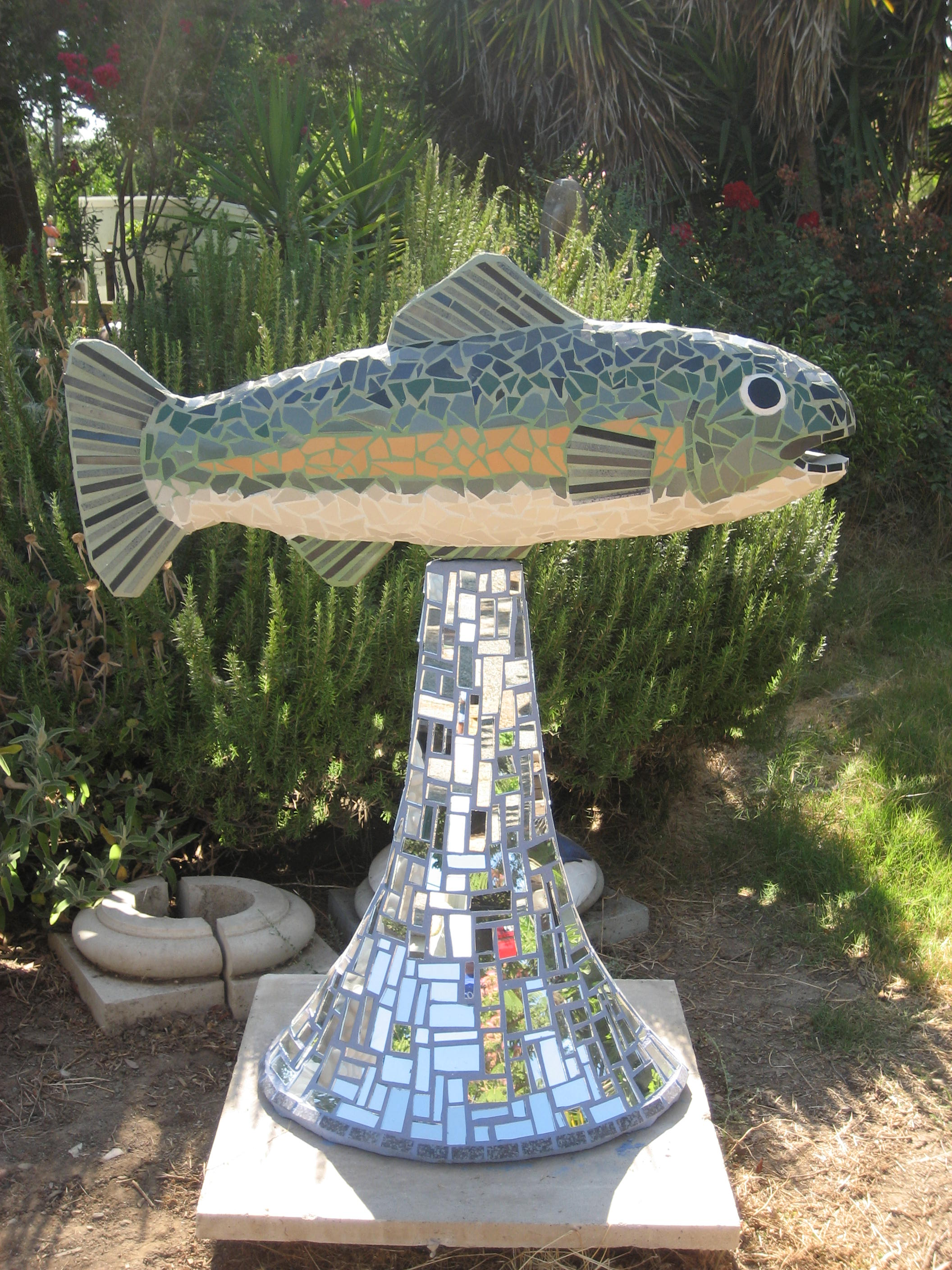 """""""TROUT"""" 49""""x42""""x29"""" Mirror, ceramic tile and cement 2010"""